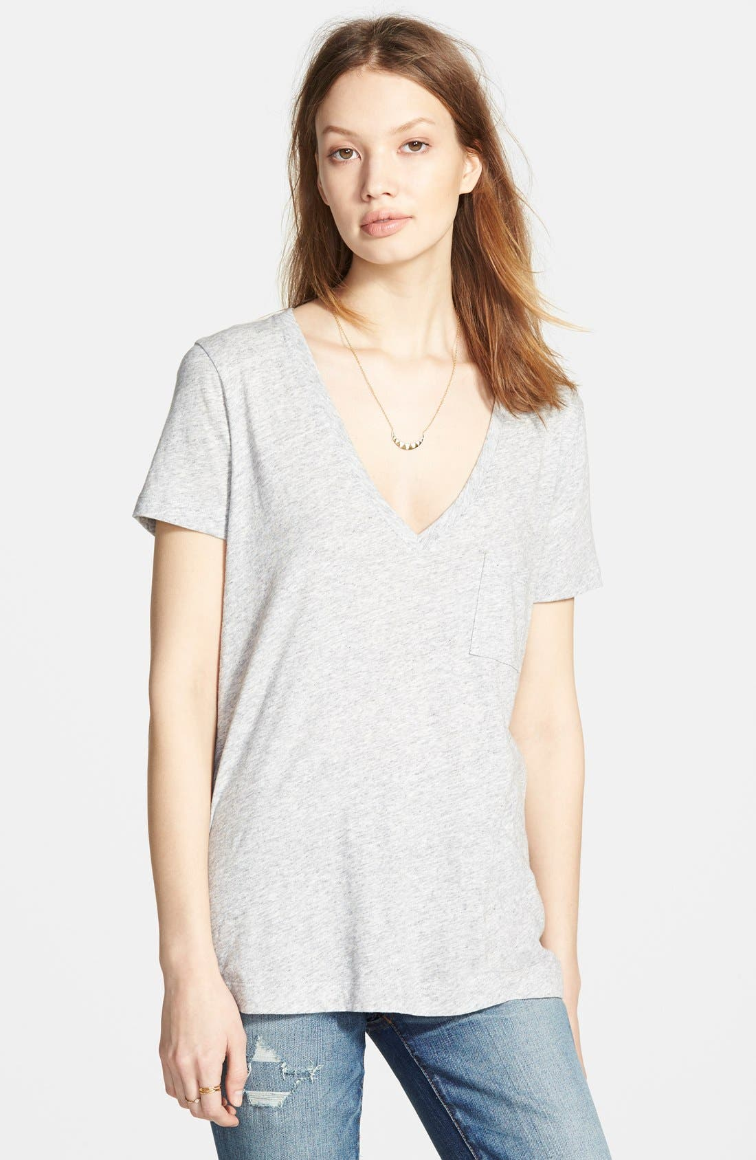Whisper Cotton V-Neck Pocket Tee,                             Main thumbnail 6, color,