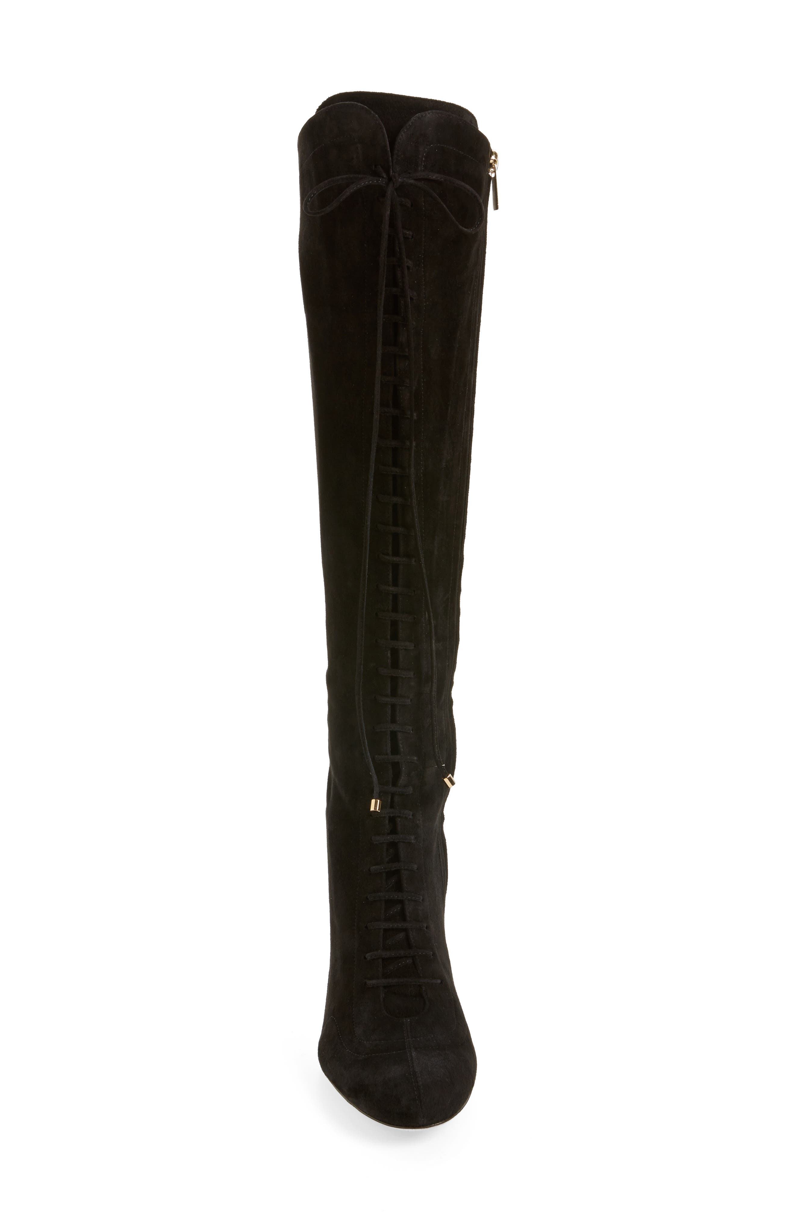 Desiree Lace Up Knee High Boot,                             Alternate thumbnail 4, color,                             001