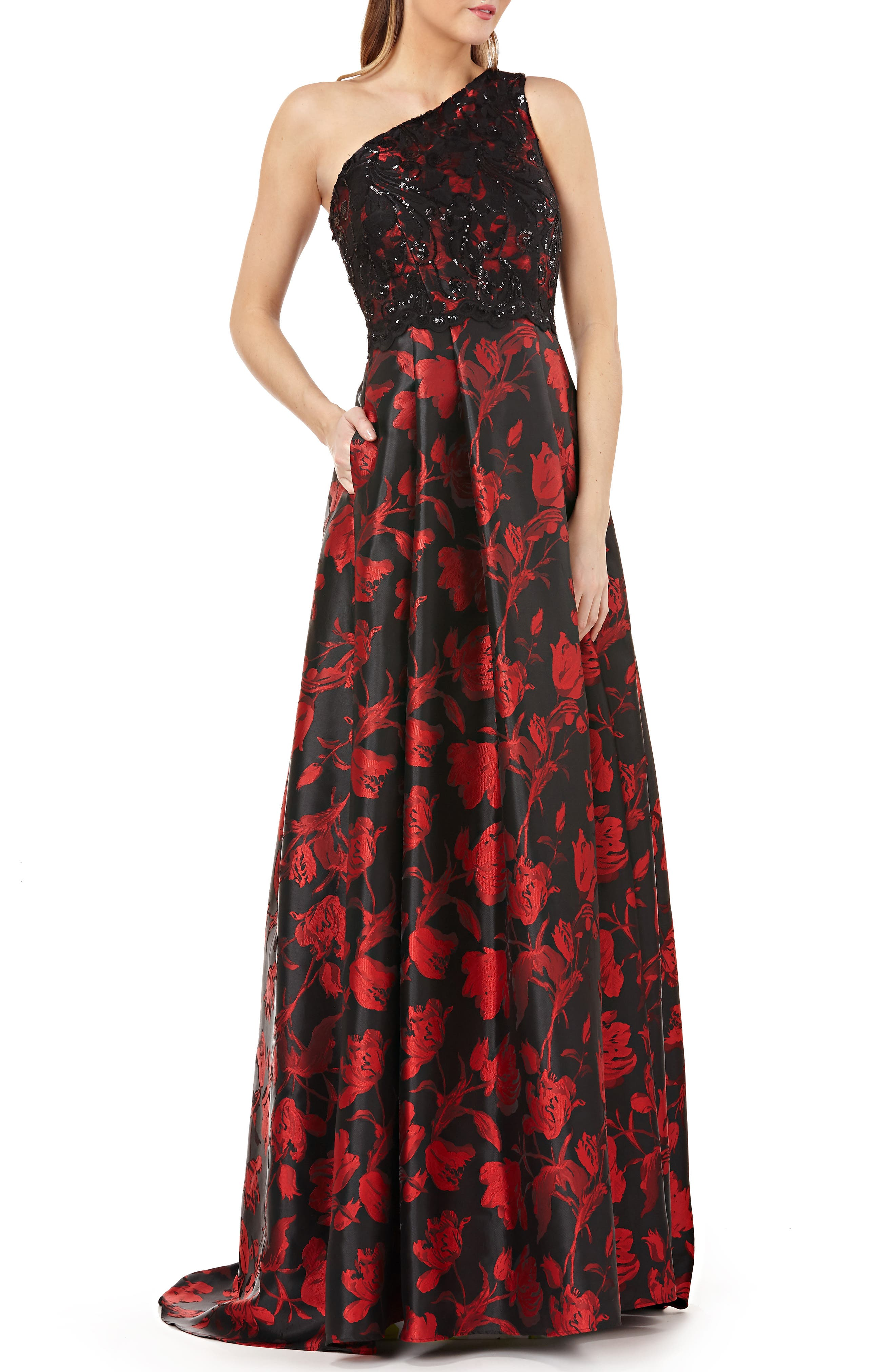 CARMEN MARC VALVO Infusion Embellished One-Shoulder Ball Gown in Red/ Black