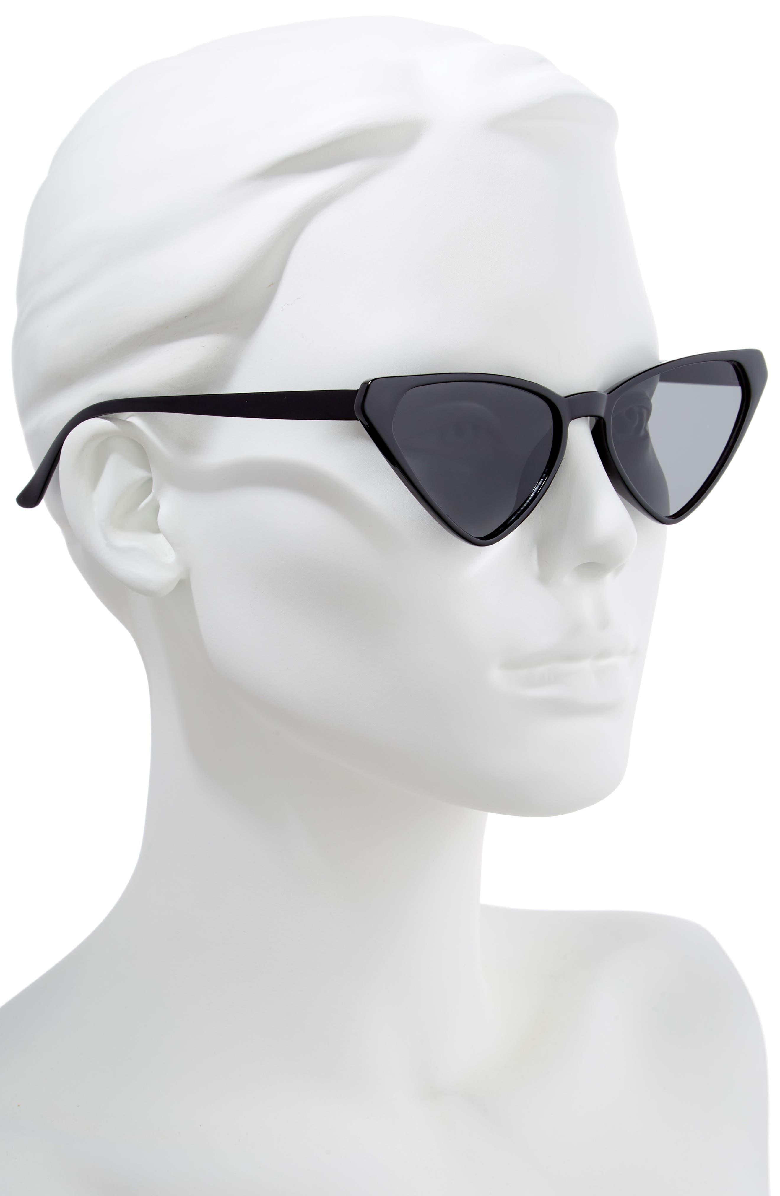 54mm Angular Cat Eye Sunglasses,                             Alternate thumbnail 2, color,                             BLACK