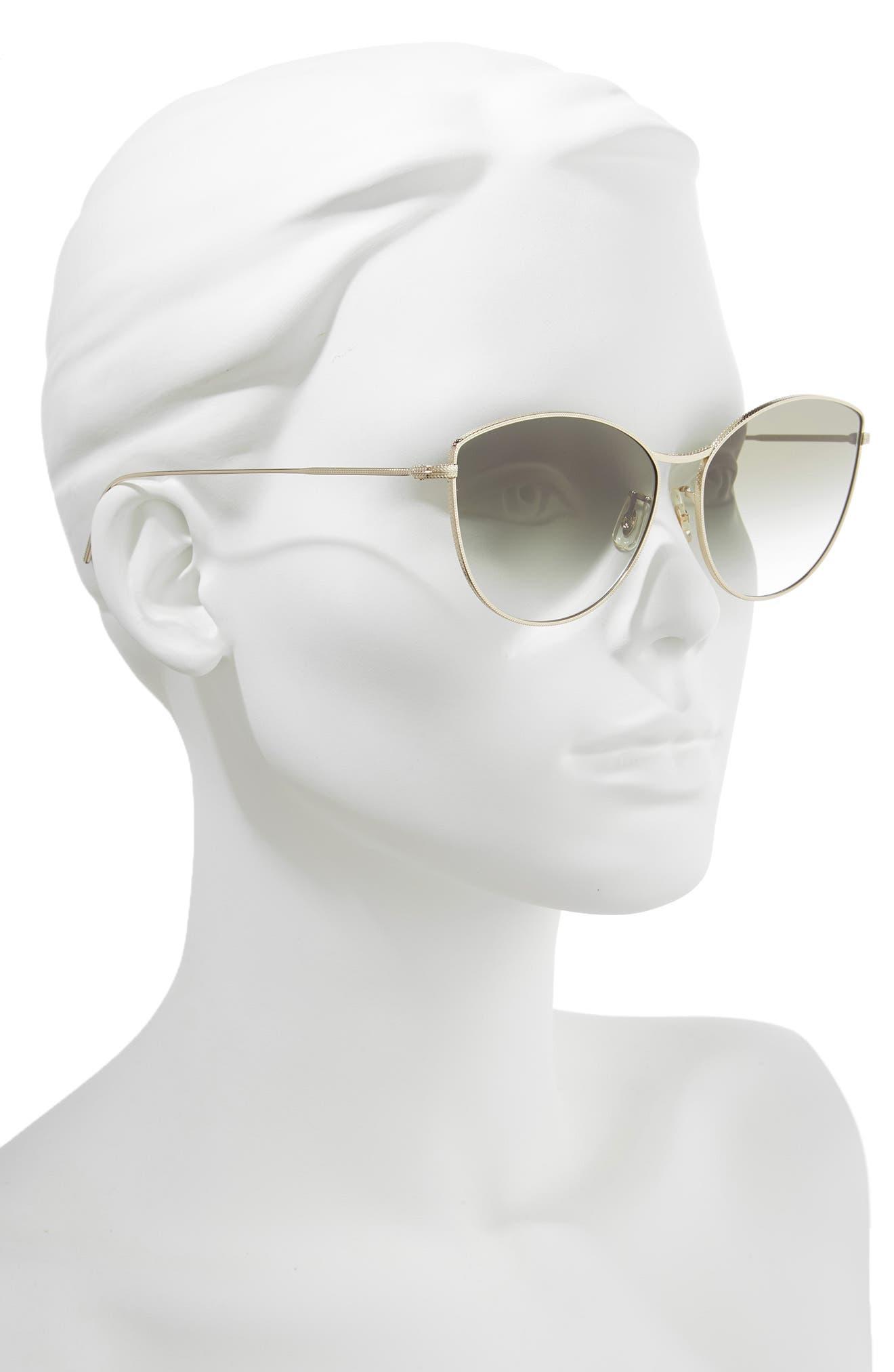 Rayette 60mm Cat Eye Sunglasses,                             Alternate thumbnail 2, color,                             SOFT GOLD OLIVE