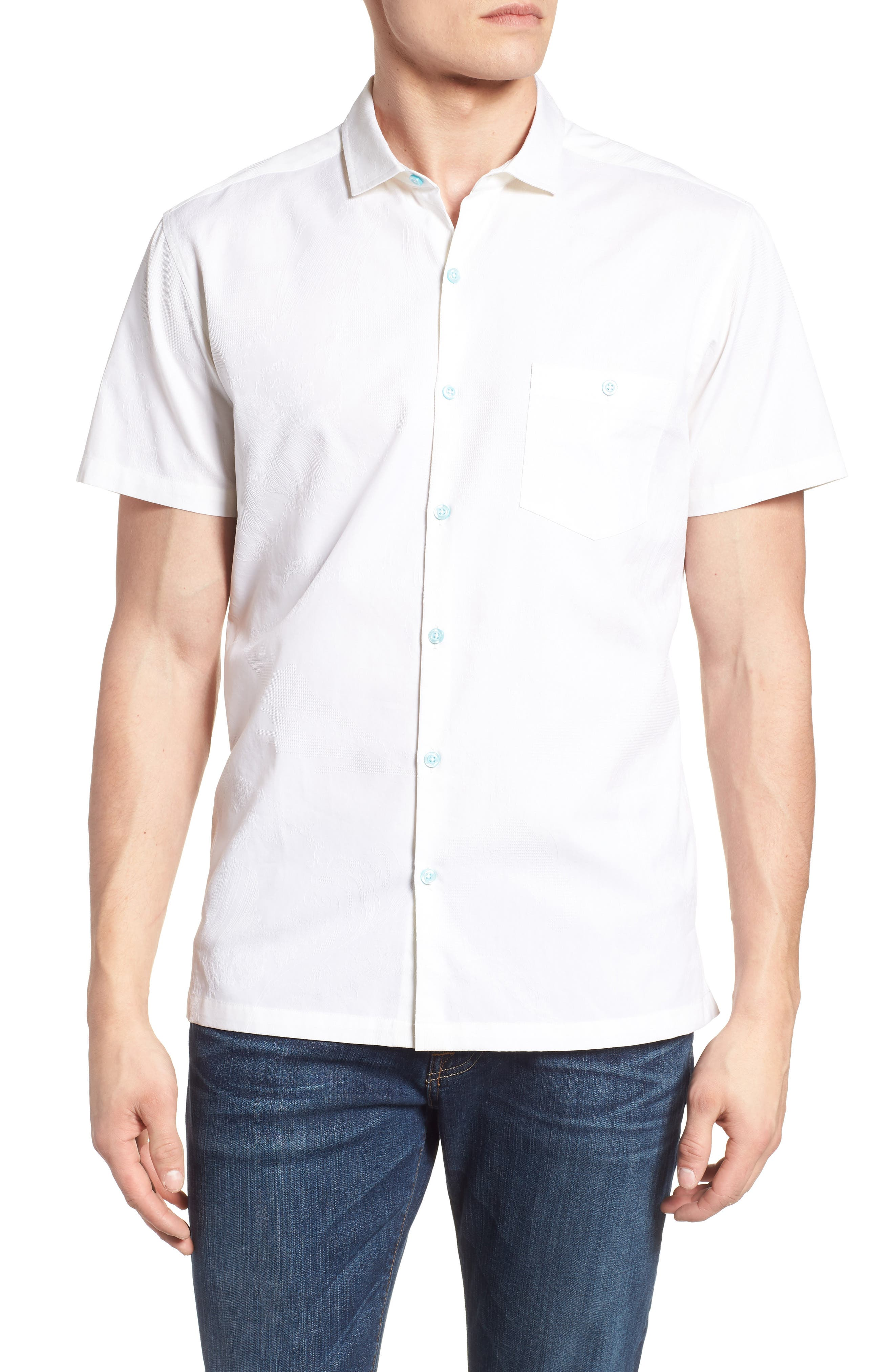 Seas the Day Trim Fit Camp Shirt,                         Main,                         color, WHITE