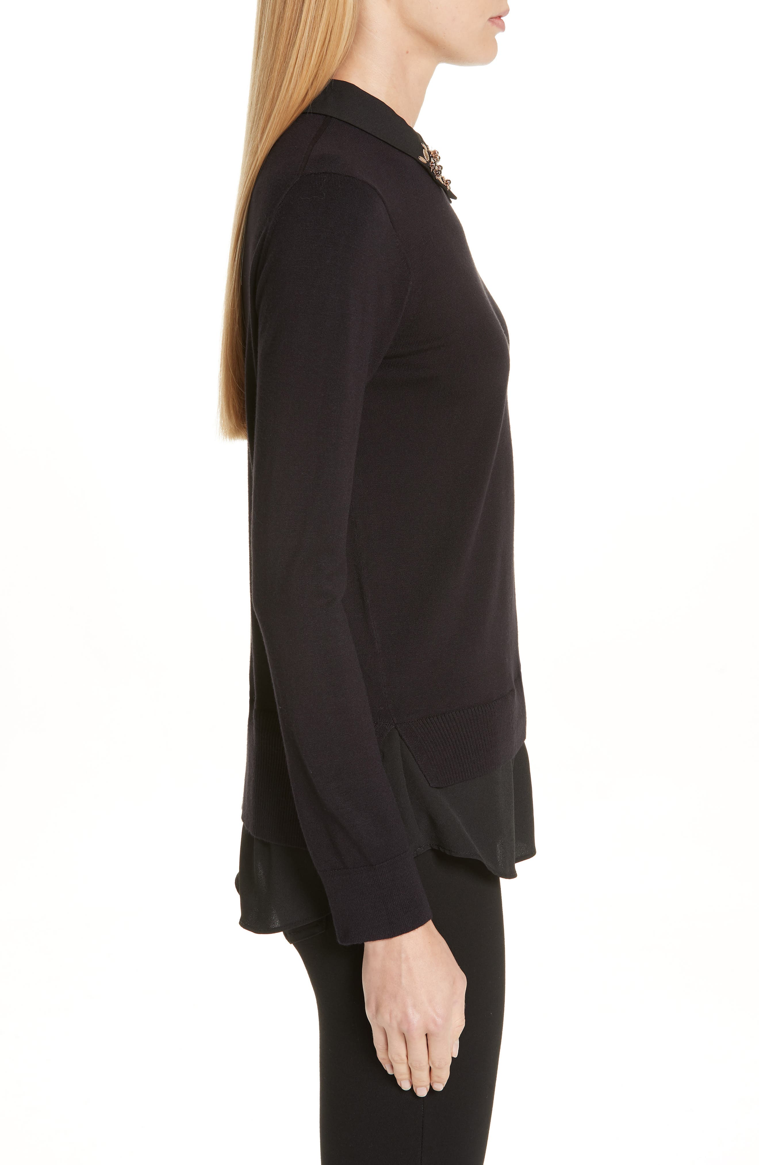 Moliiee Embroidered Collar Sweater,                             Alternate thumbnail 3, color,                             BLACK