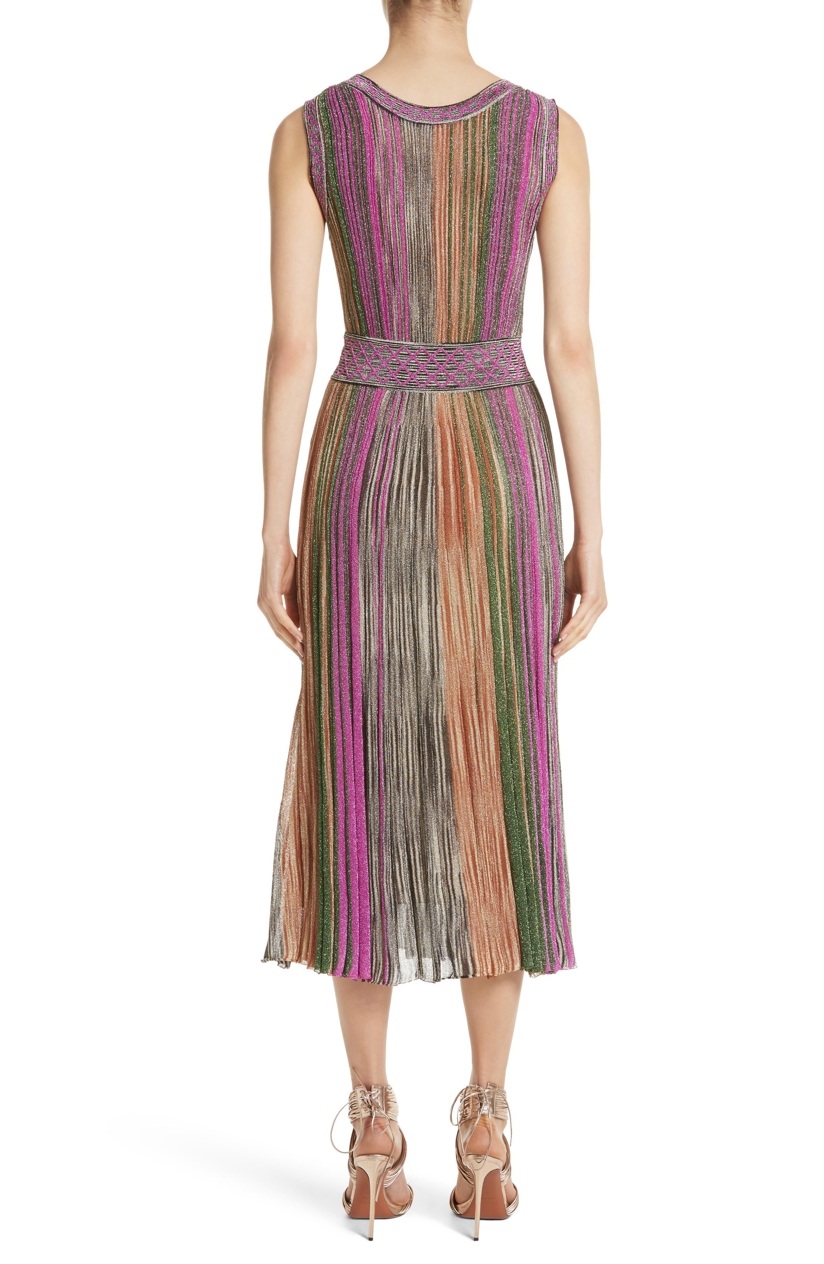 Reversible Metallic Stripe Knit Midi Dress,                             Alternate thumbnail 2, color,                             010