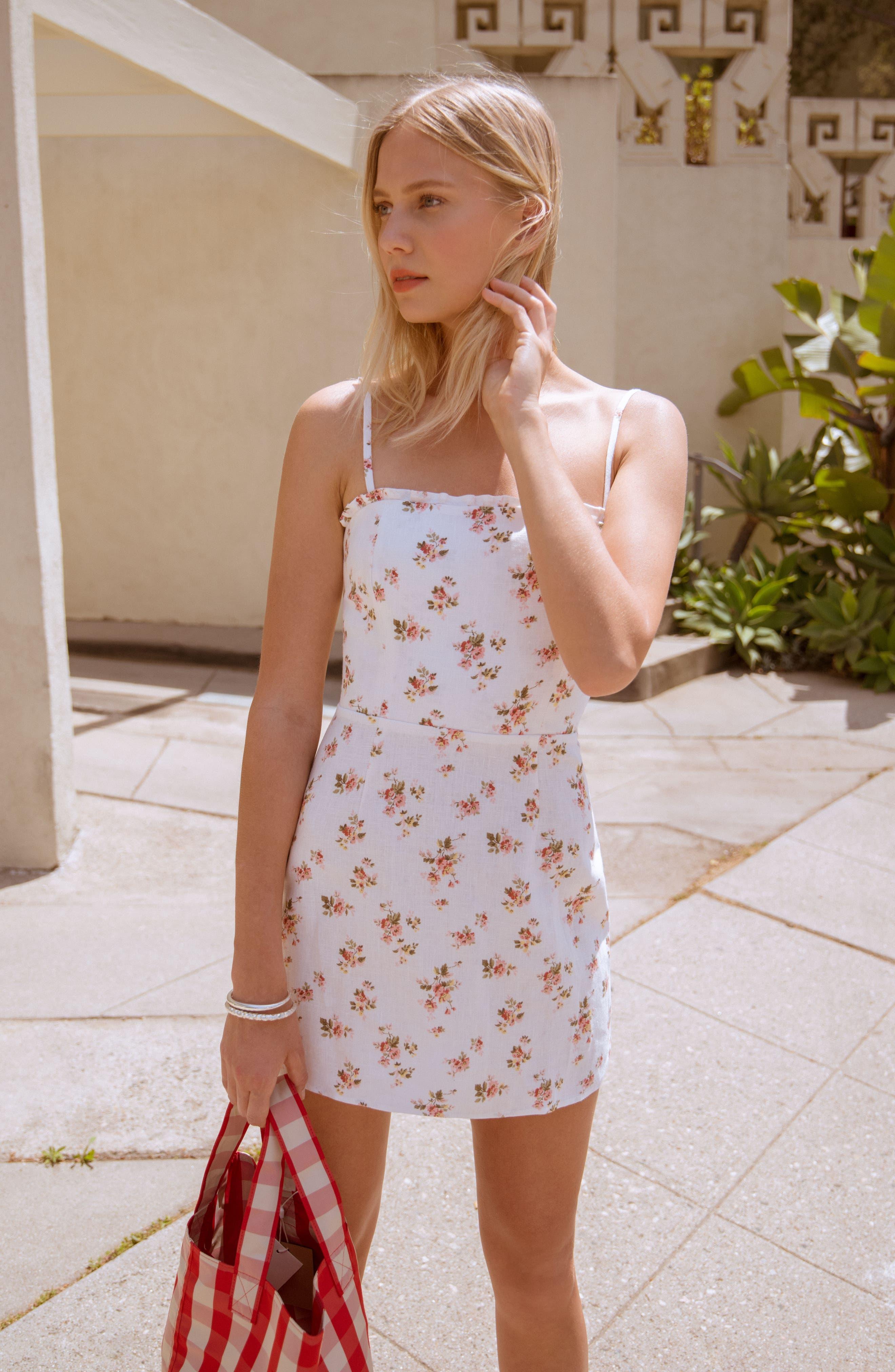 Ava Ruffle Linen Minidress,                             Alternate thumbnail 4, color,                             100