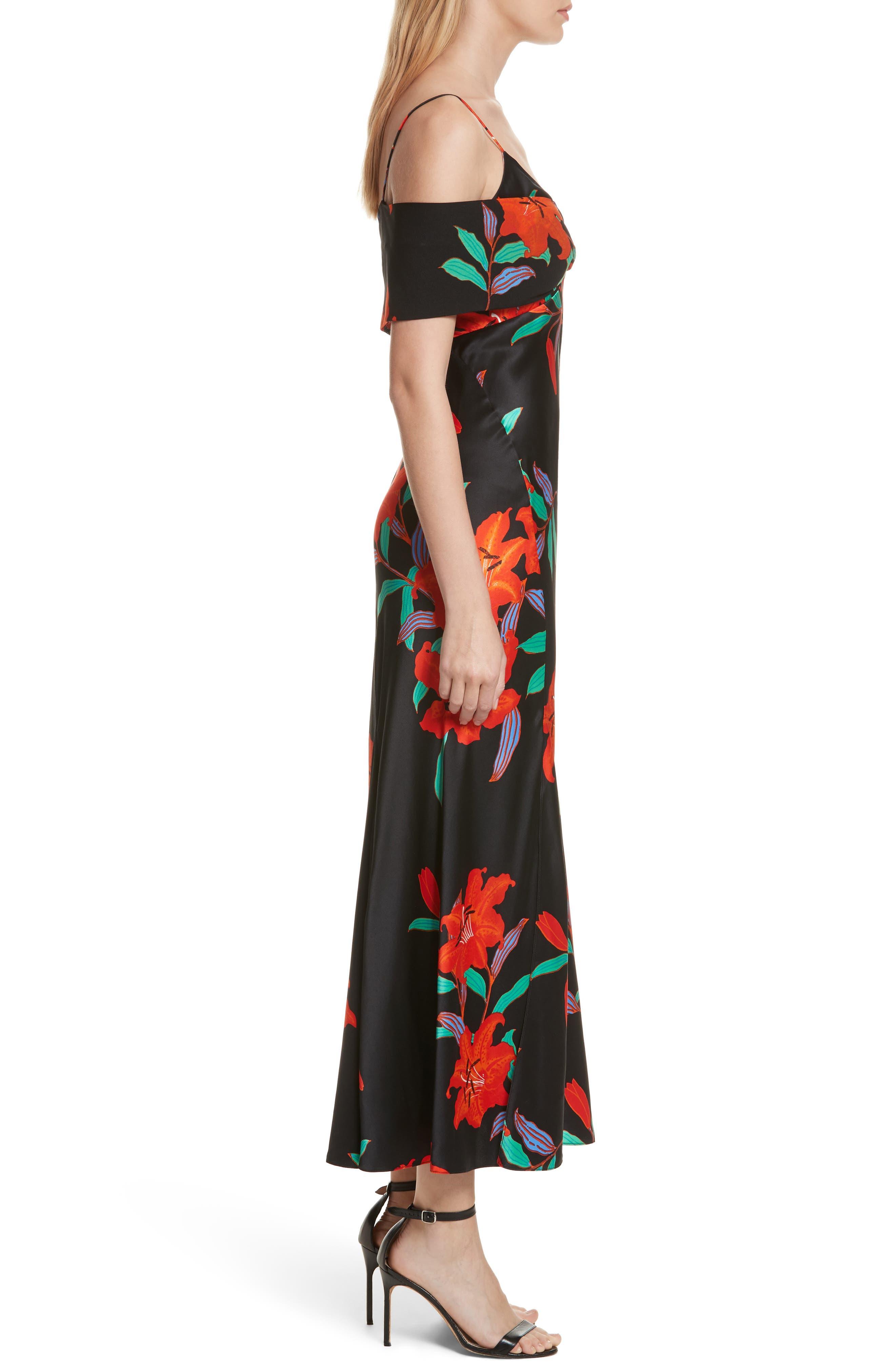 Diane von Furstenberg Asymmetrical Knotted Gown,                             Alternate thumbnail 3, color,                             001