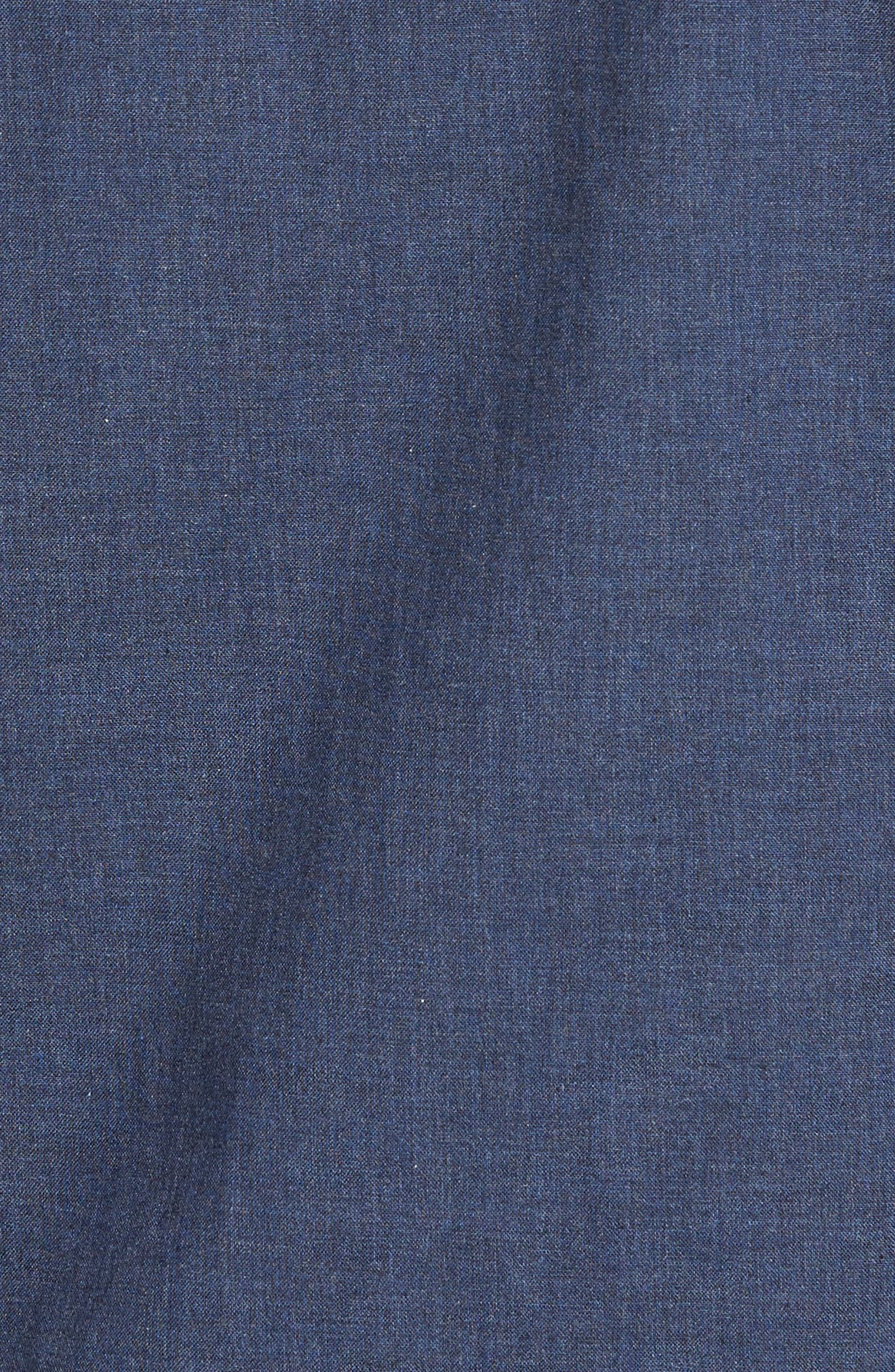 Heather Non-Iron Sport Shirt,                             Alternate thumbnail 5, color,                             NAVY HEATHER