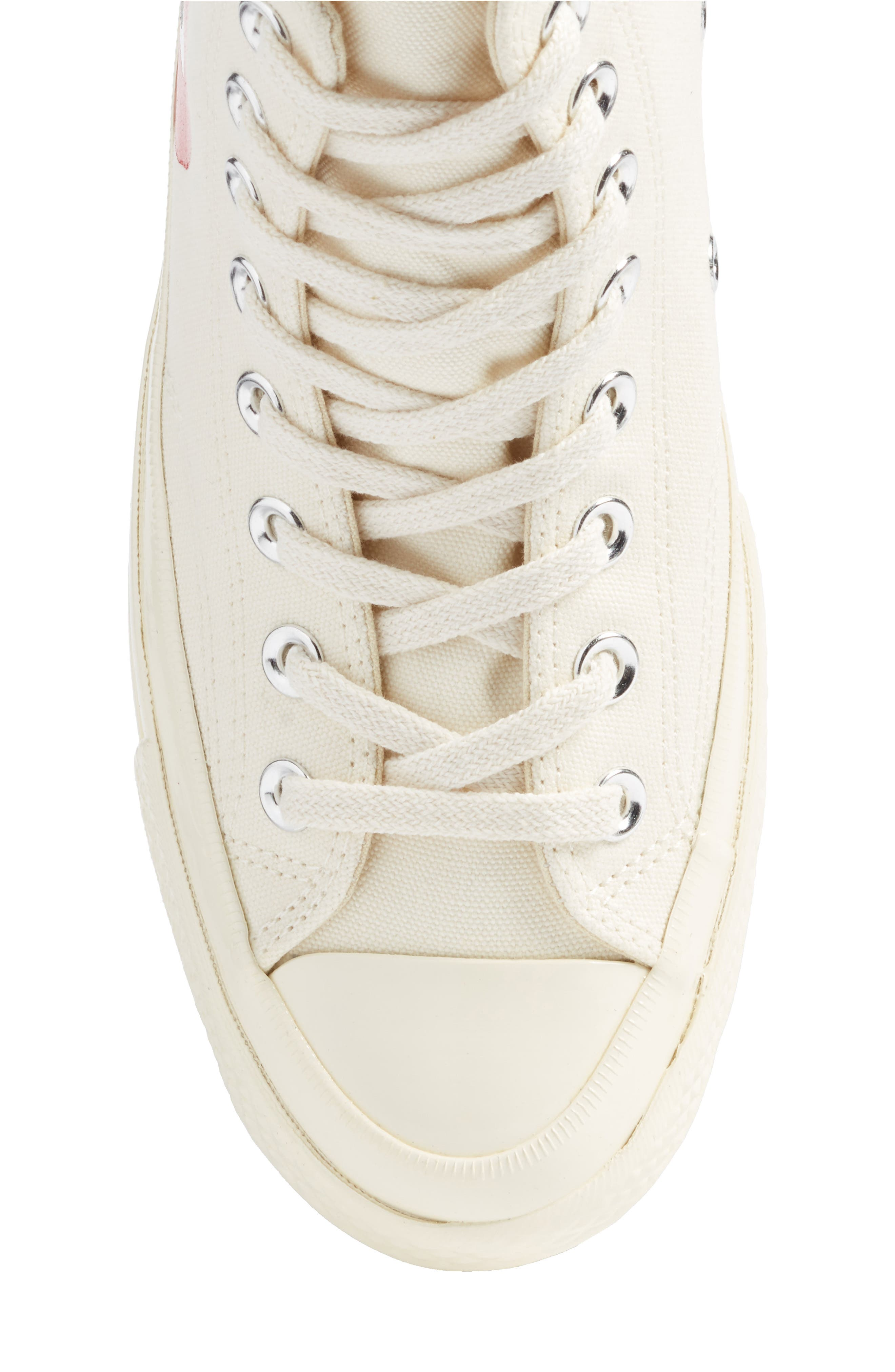 COMME DES GARÇONS,                             PLAY x Converse Chuck Taylor<sup>®</sup> Hidden Heart High Top Sneaker,                             Alternate thumbnail 5, color,                             WHITE CANVAS
