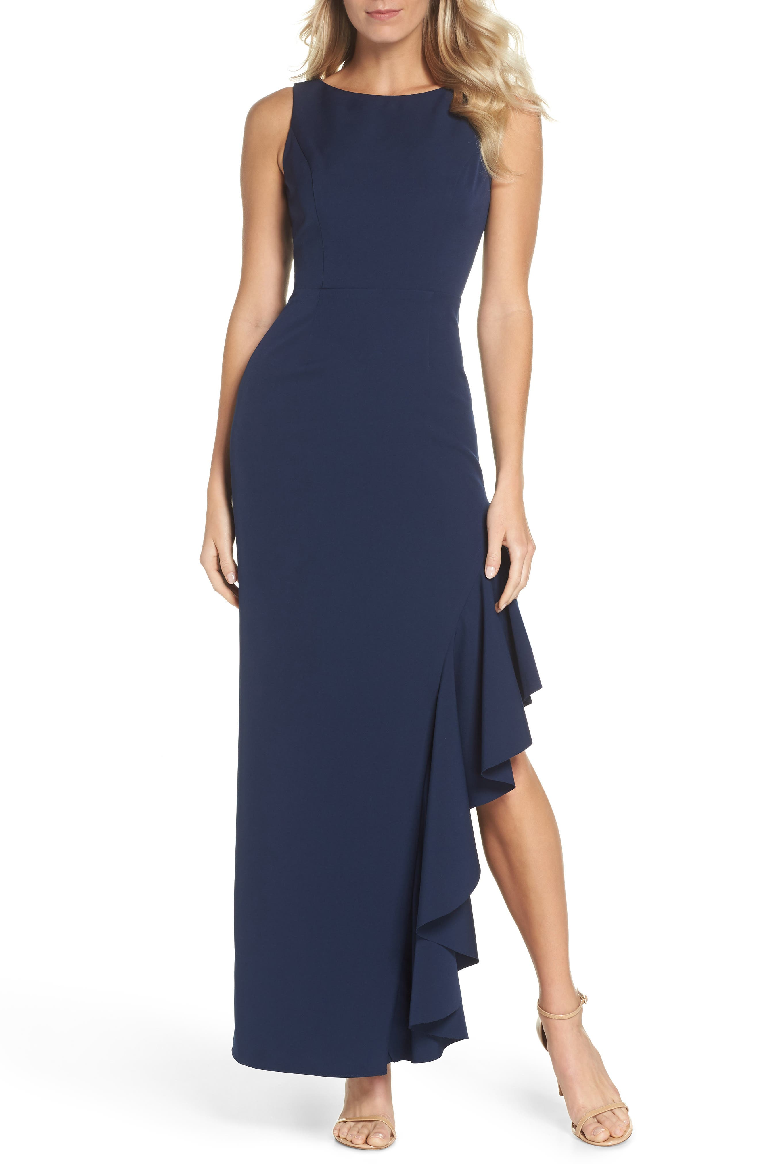 Ruffle Gown,                             Main thumbnail 1, color,                             NAVY