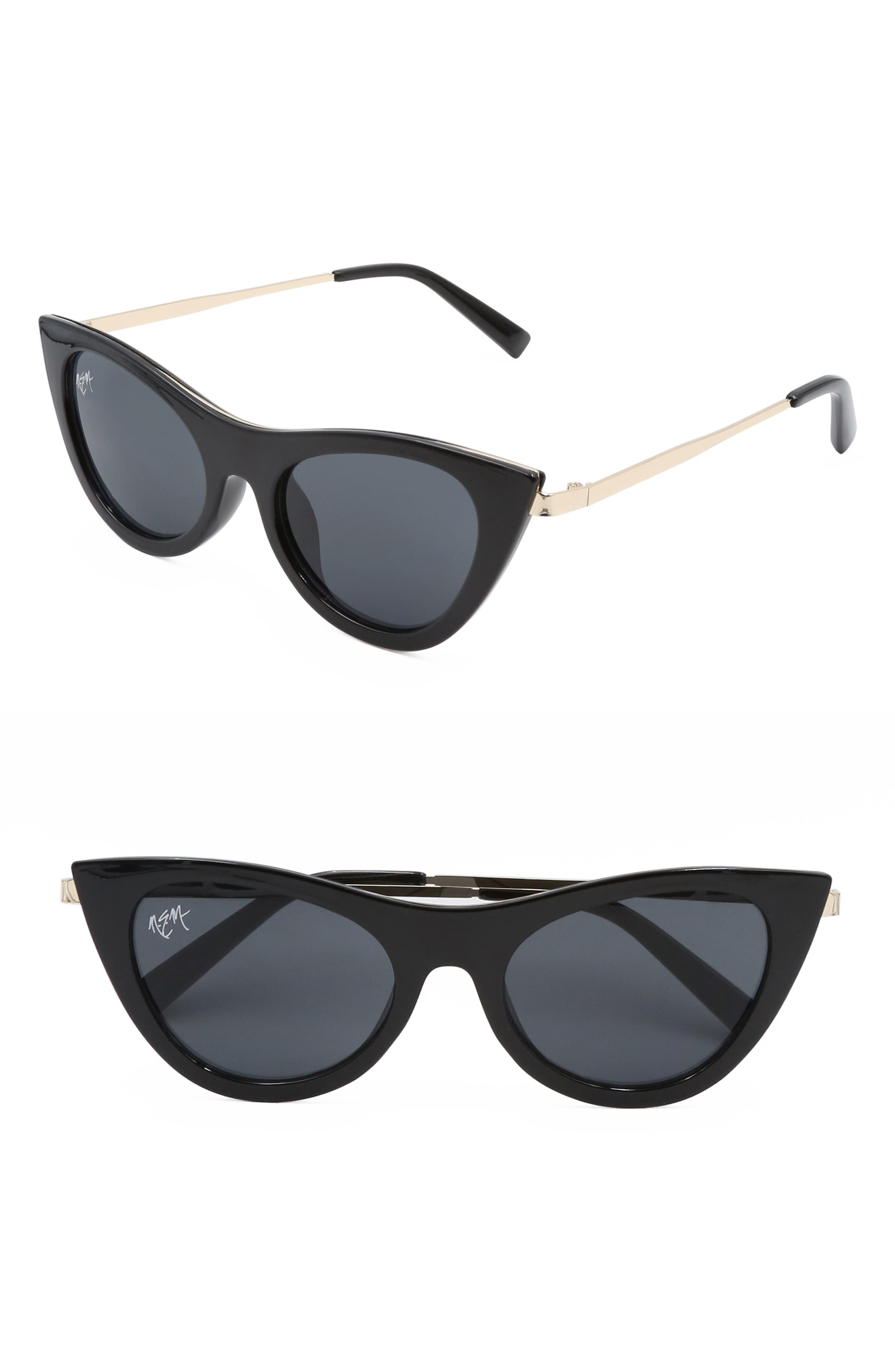 Nem Cruise 50Mm Cat Eye Sunglasses - Black W Dark Lens