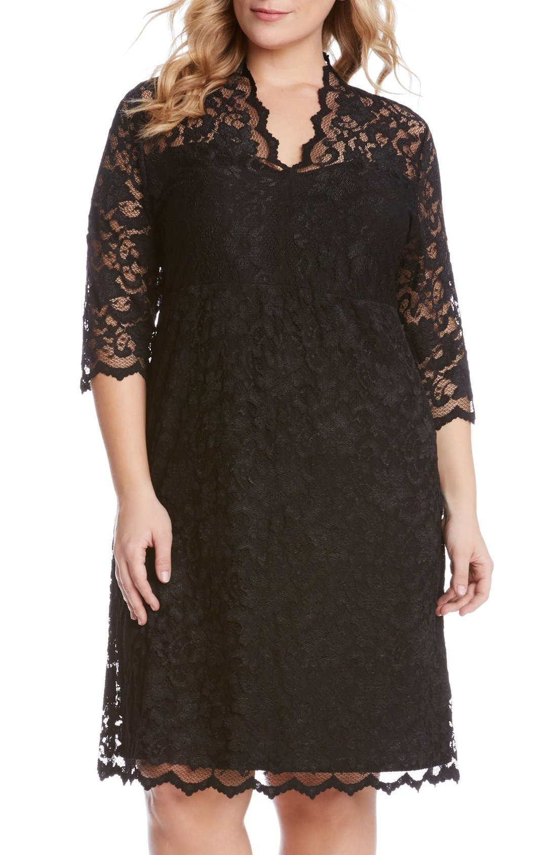 Scalloped Stretch Lace Dress,                             Main thumbnail 1, color,                             BLACK