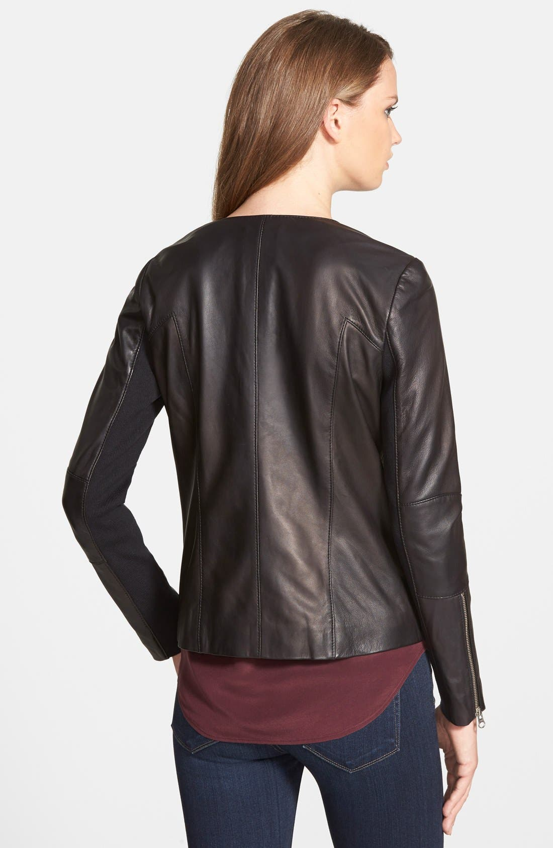 Collarless Leather Jacket,                             Alternate thumbnail 4, color,                             001