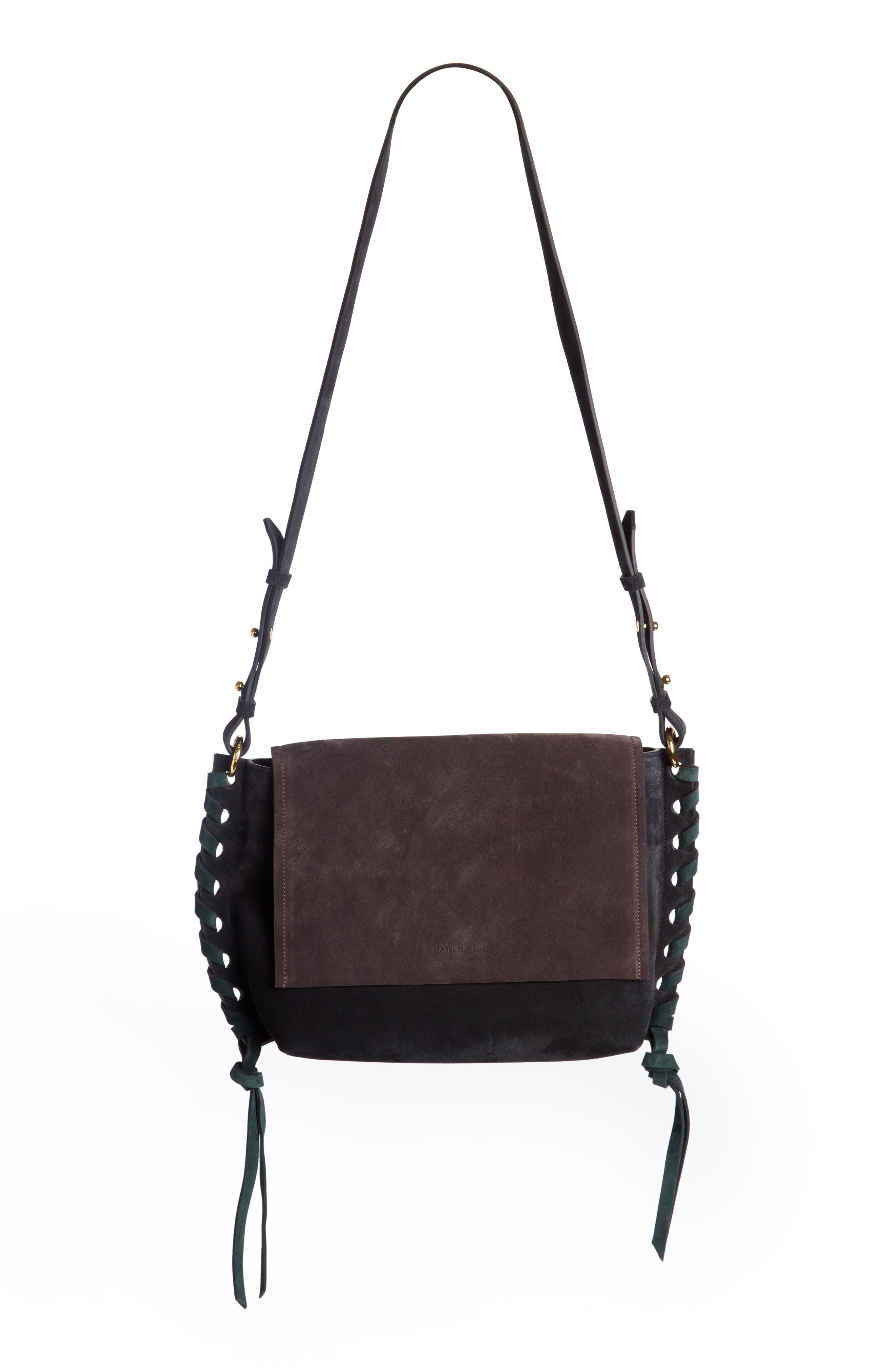Asli Colorblock Suede Shoulder Bag,                             Main thumbnail 1, color,                             002