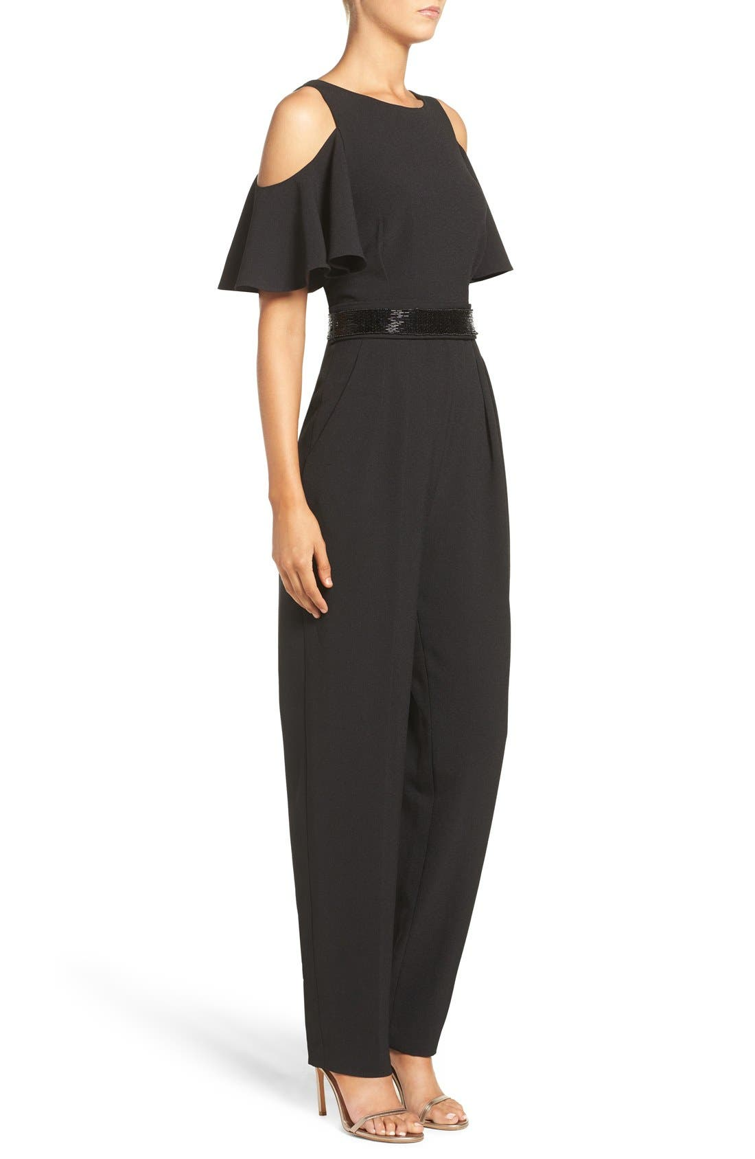 Cold Shoulder Jumpsuit,                             Alternate thumbnail 5, color,                             001