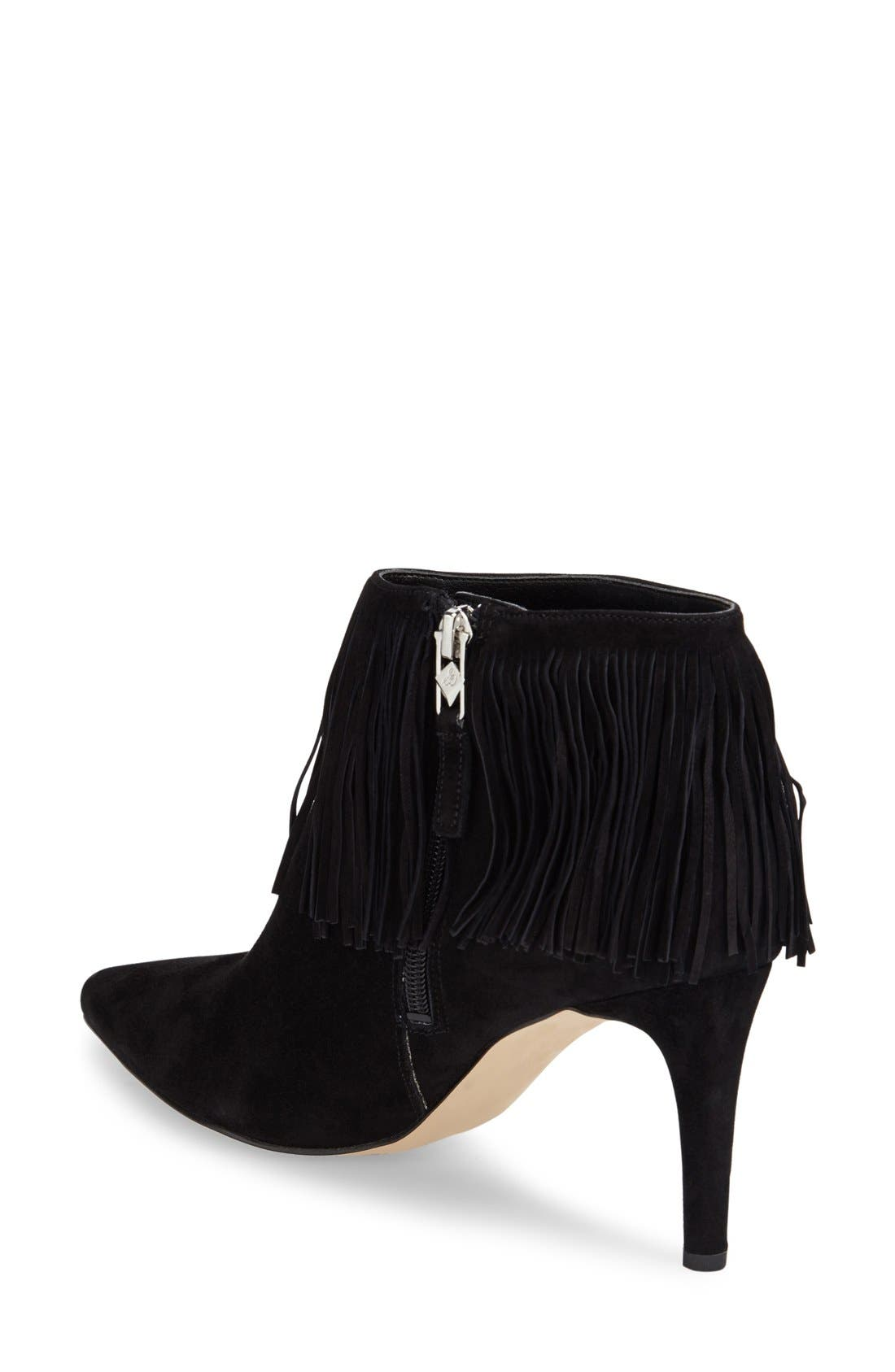 SAM EDELMAN,                             'Kandice' Fringed Suede Pointy Toe Bootie,                             Alternate thumbnail 6, color,                             002
