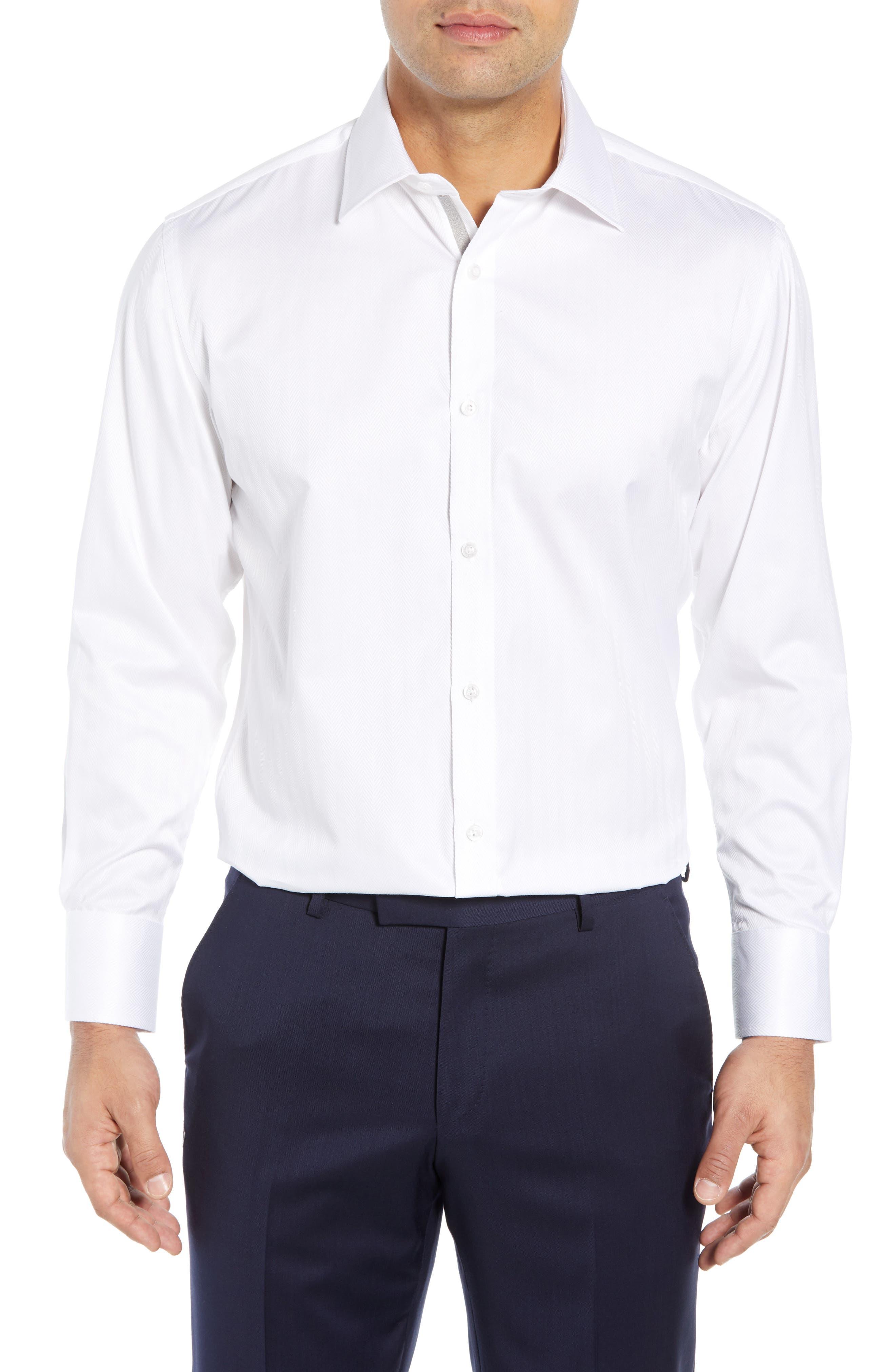 ENGLISH LAUNDRY Regular Fit Herringbone Dress Shirt in White
