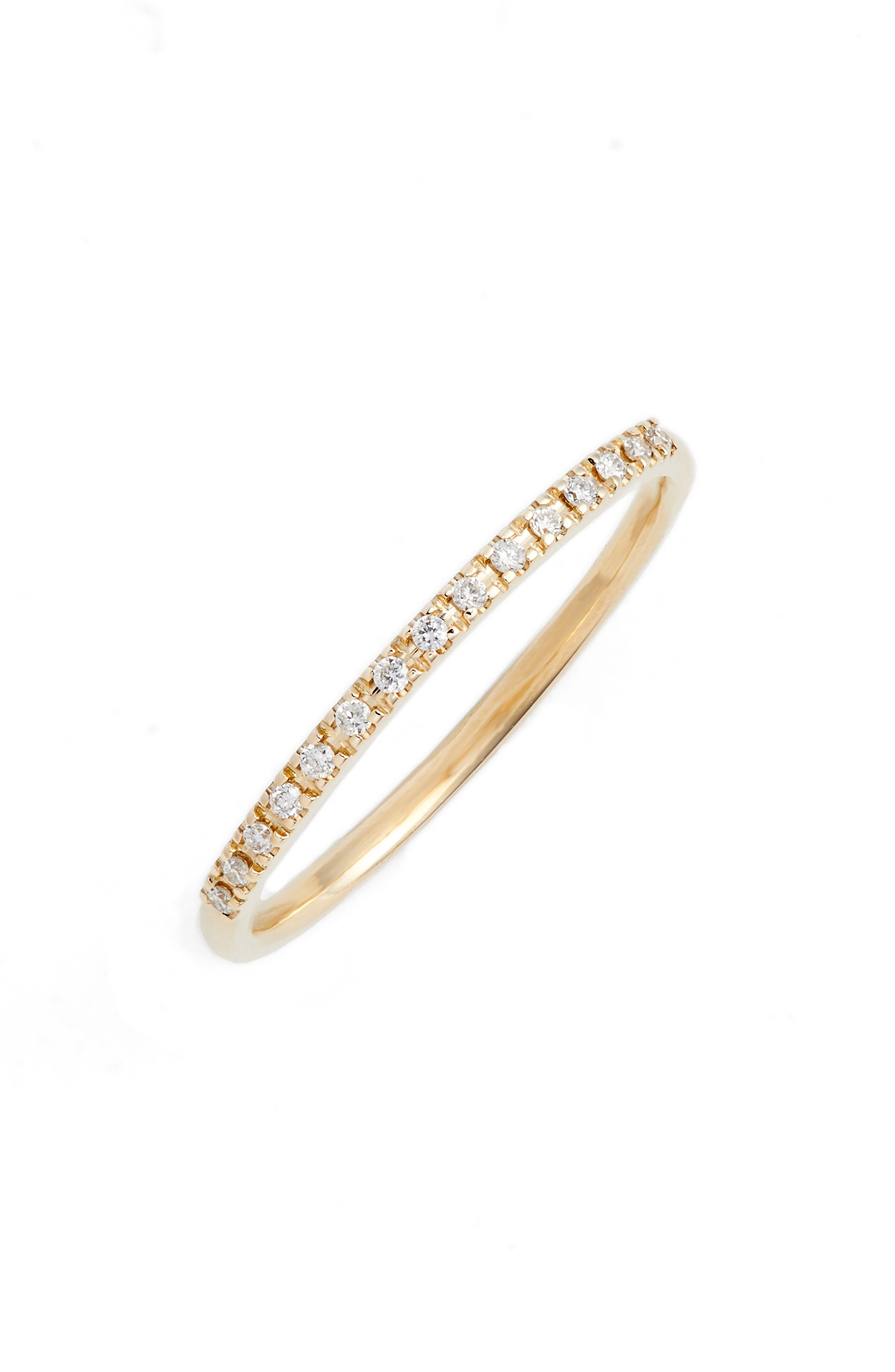 Thin Diamond Pavé Band Ring,                             Main thumbnail 1, color,                             YELLOW GOLD