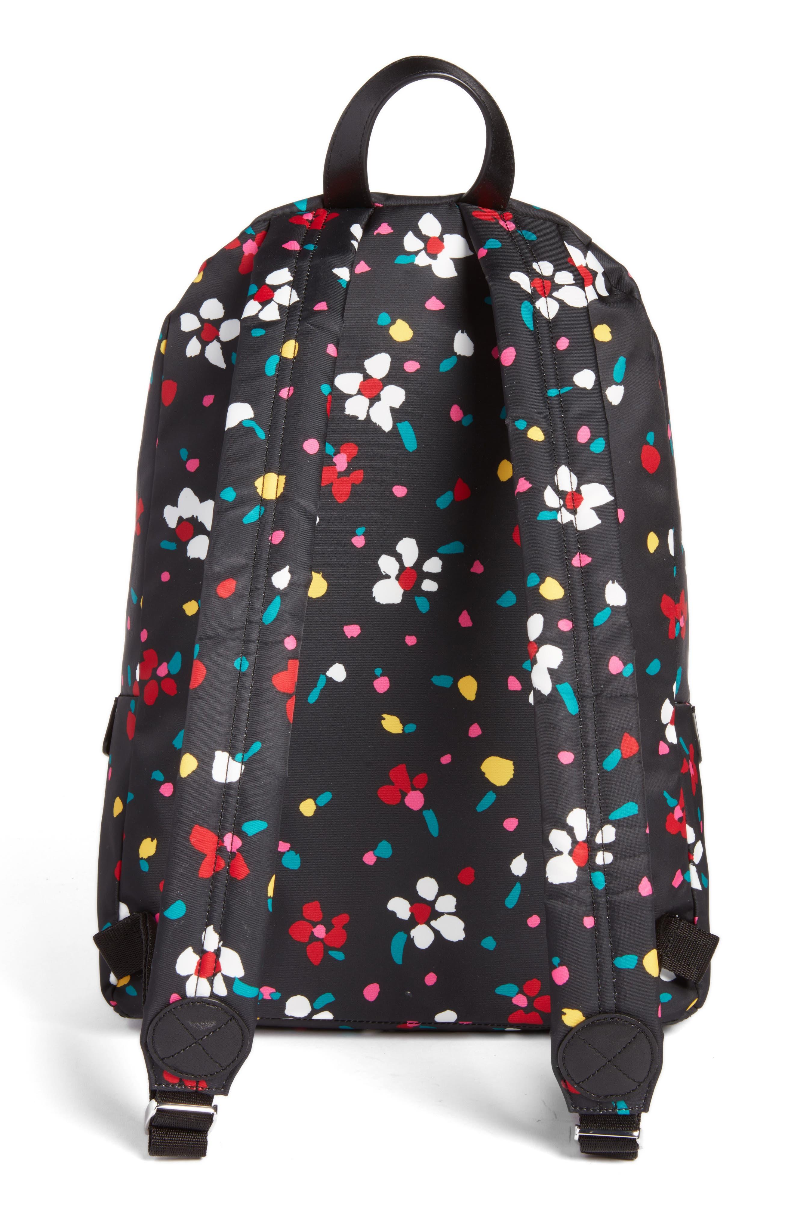 Biker Floral Print Backpack,                             Alternate thumbnail 3, color,                             002