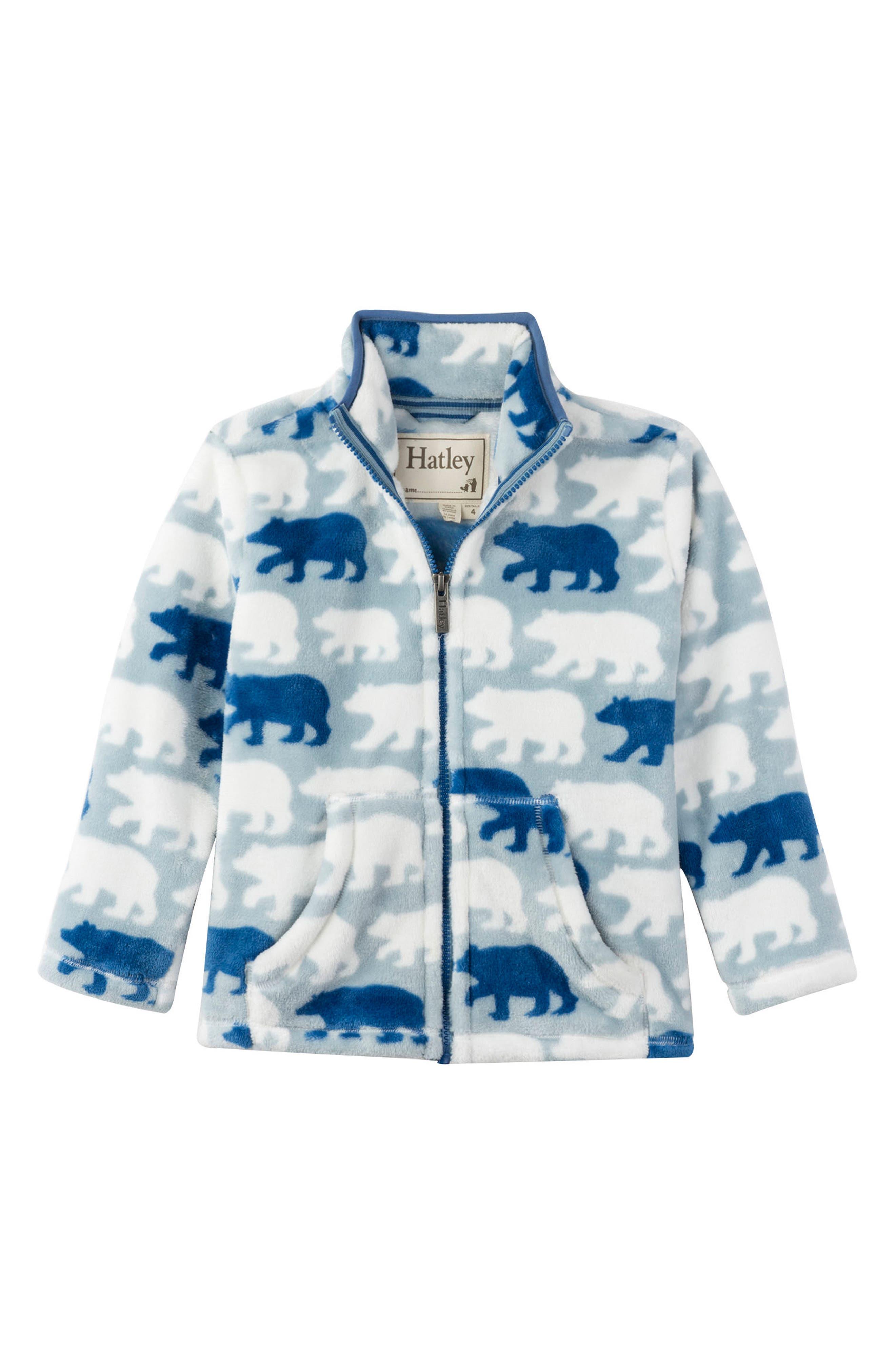 Polar Bear Fleece Jacket,                             Main thumbnail 1, color,                             BLUE