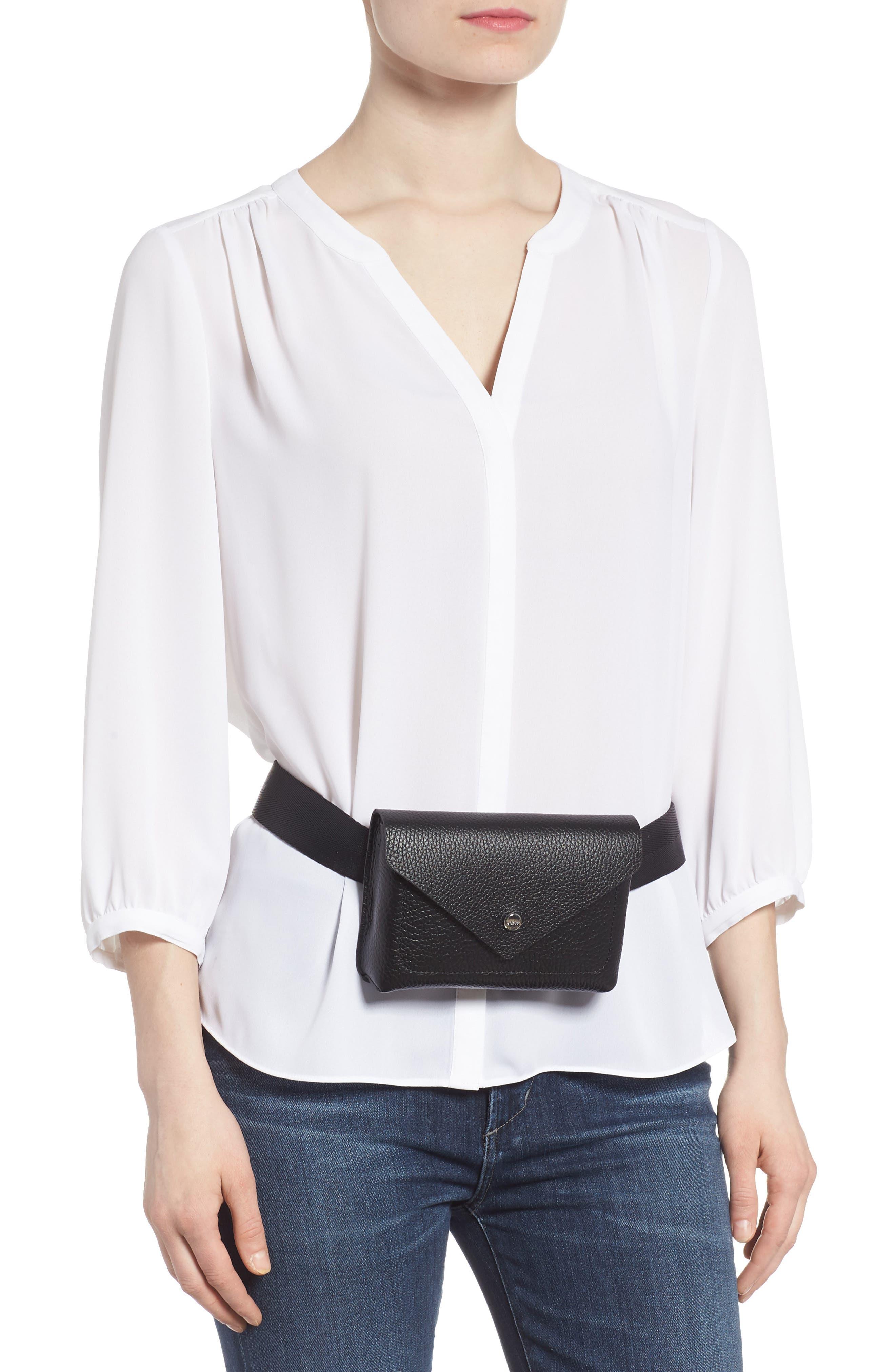 Vivi Calfskin Leather Convertible Belt Bag,                             Alternate thumbnail 2, color,                             BLACK