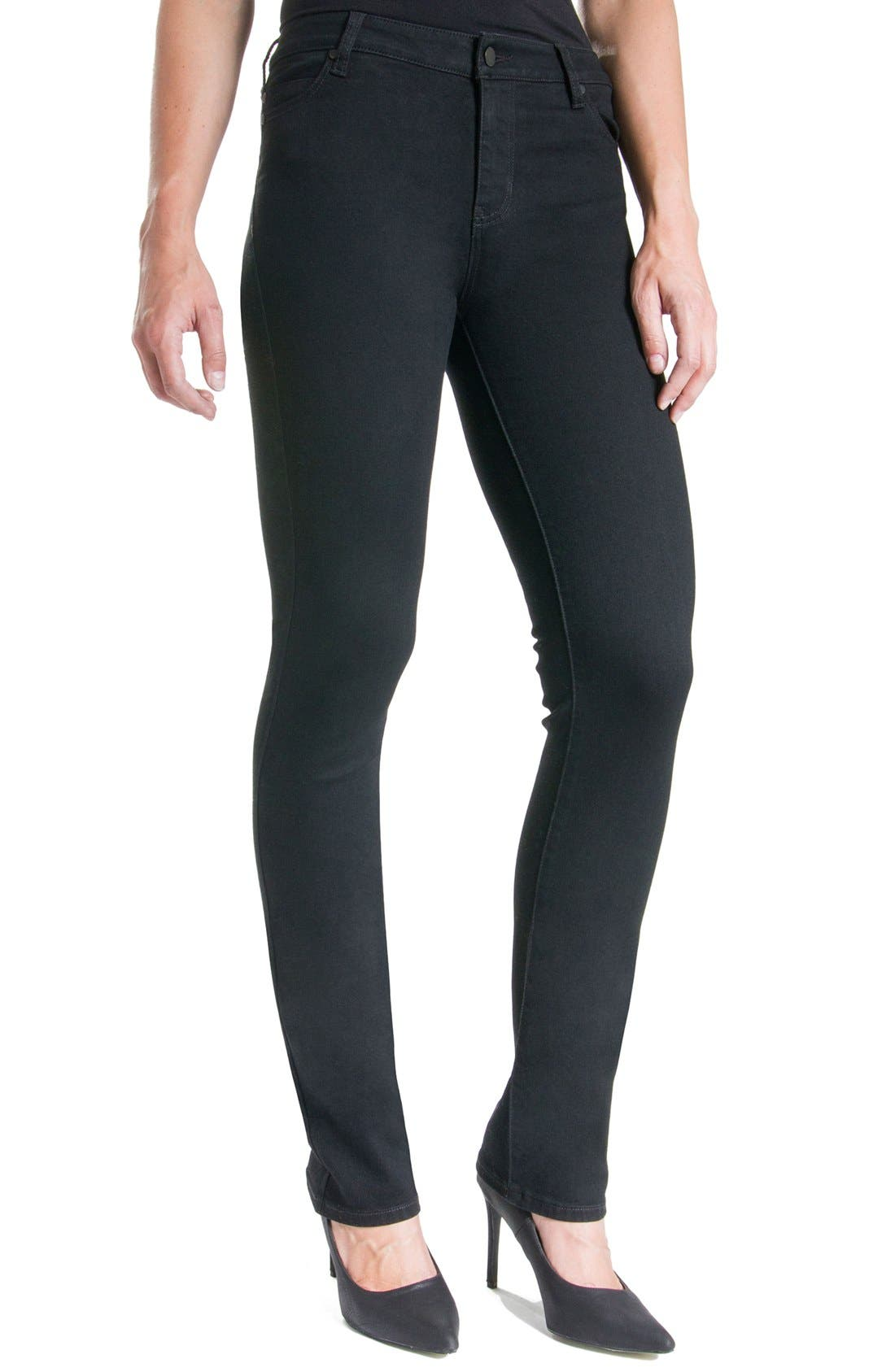 Sadie Mid Rise Stretch Straight Jeans,                             Alternate thumbnail 5, color,                             BLACK RINSE