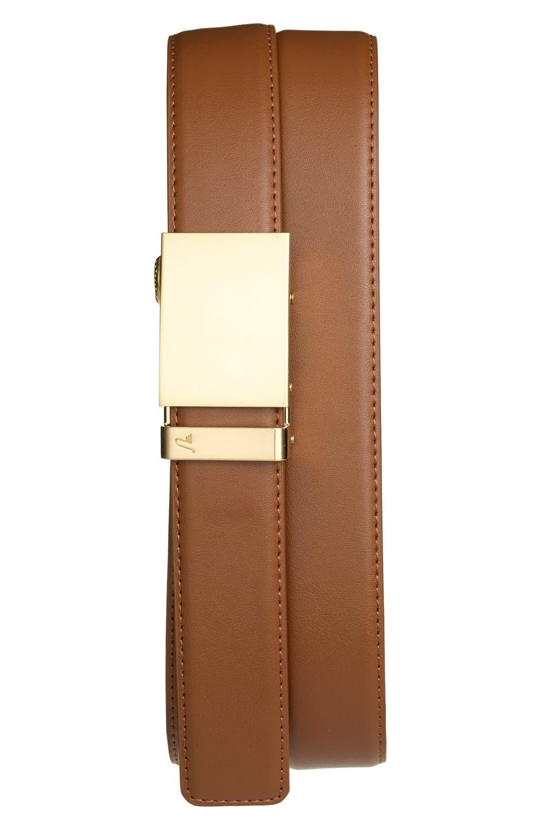 'Gold' Leather Belt,                         Main,                         color, GOLD/ TAN