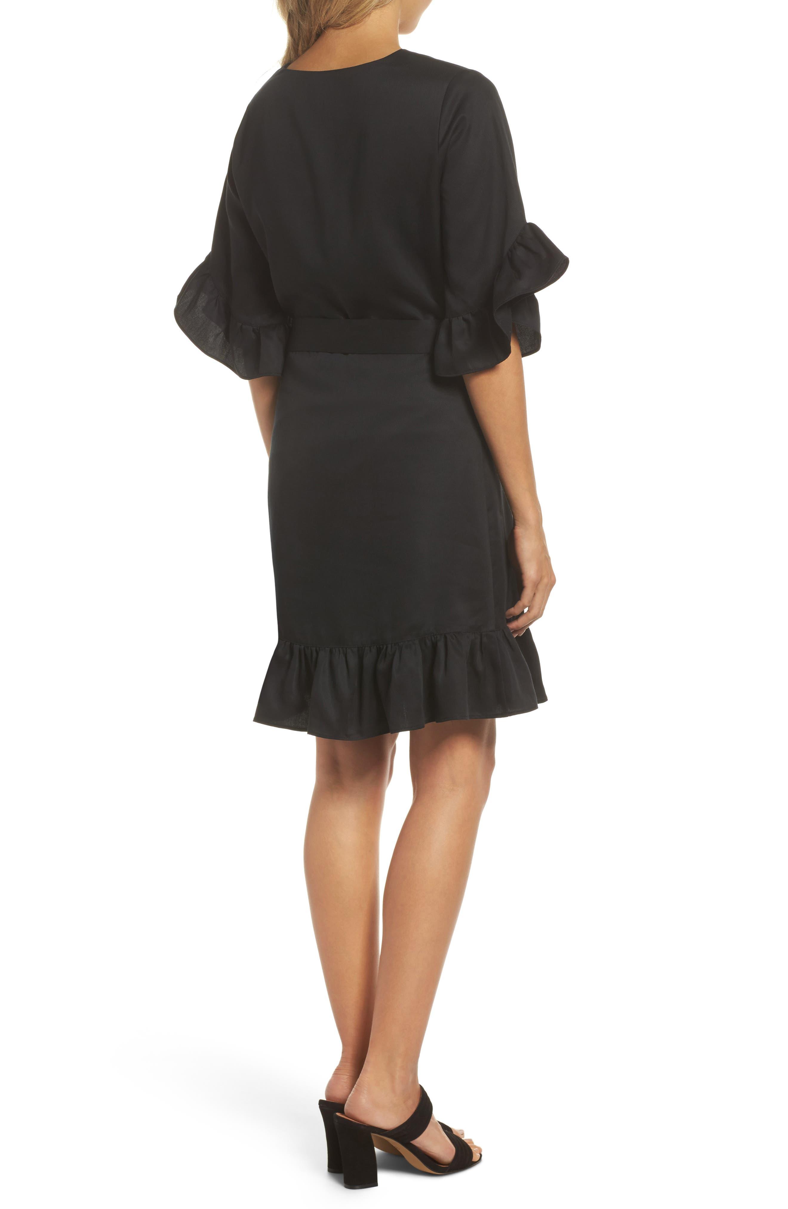 Ruffle Wrap Dress,                             Alternate thumbnail 2, color,                             001