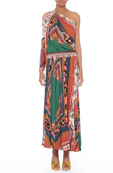 Print One-Shoulder Maxi Dress, video thumbnail