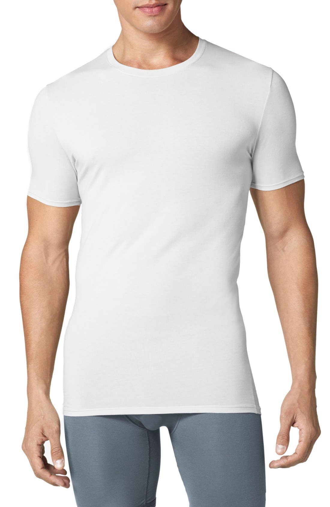 Second Skin Crewneck Undershirt,                             Main thumbnail 1, color,                             WHITE