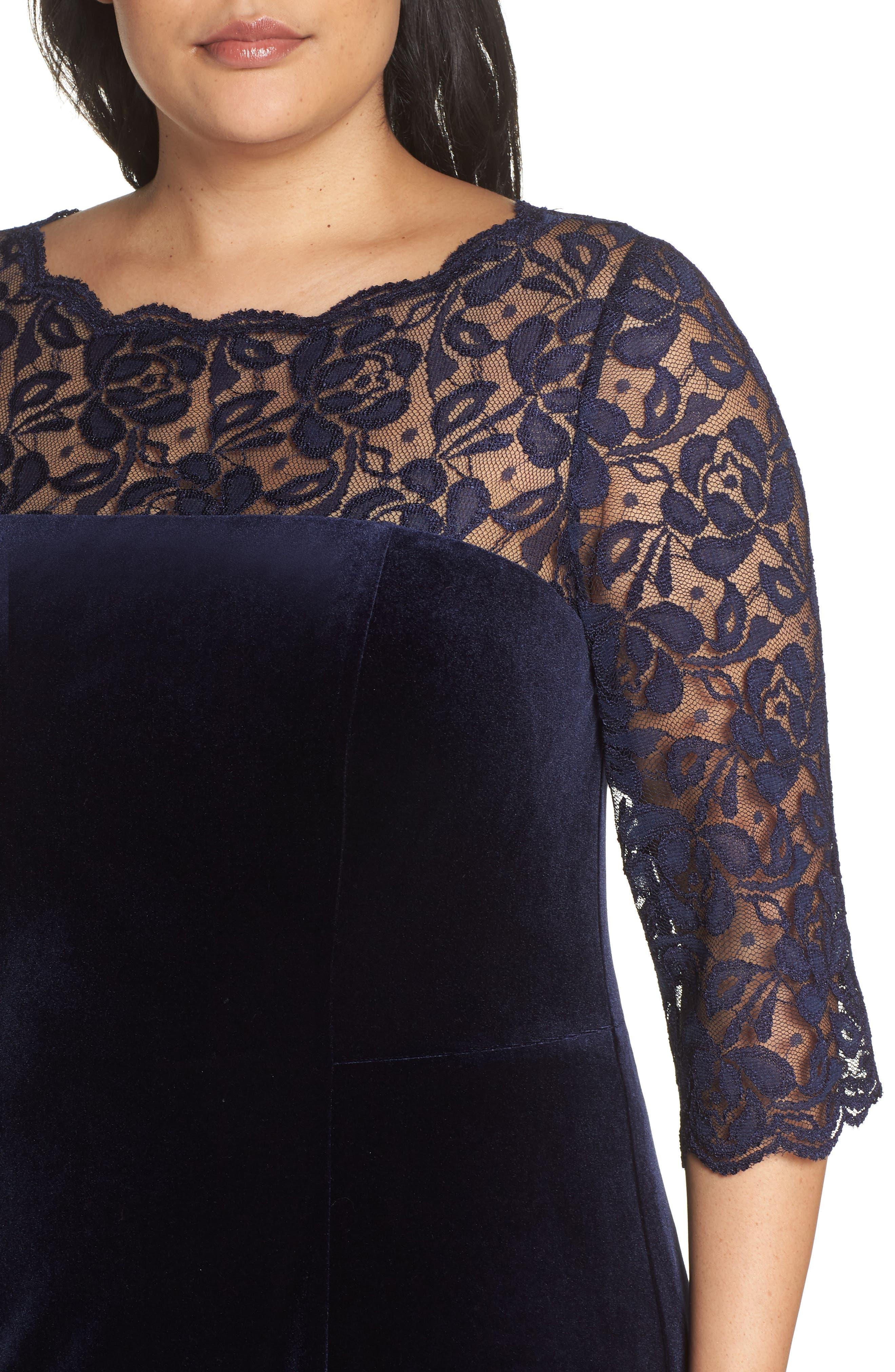 Lace & Stretch Velvet Cocktail Dress,                             Alternate thumbnail 4, color,                             NAVY