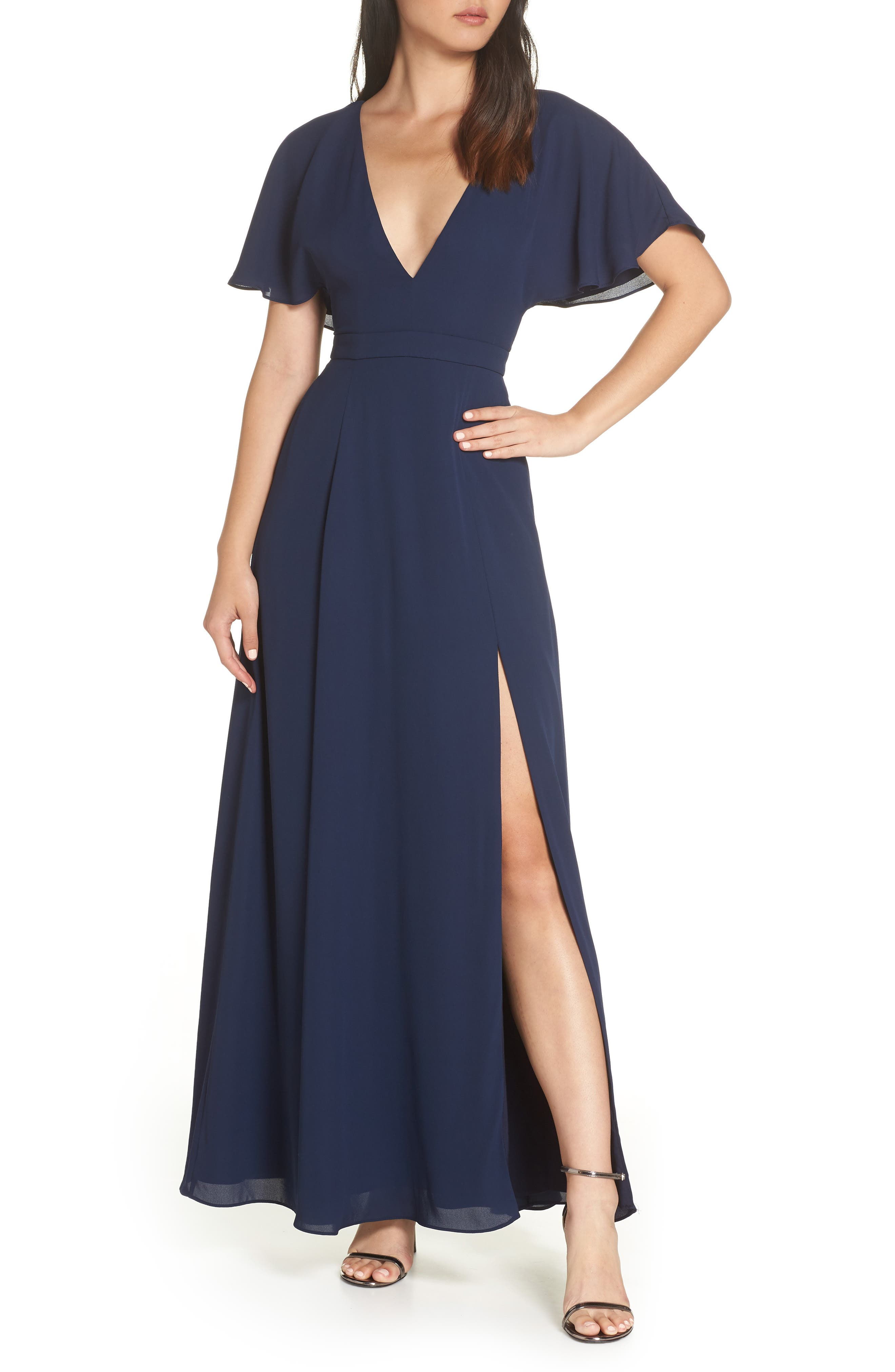 FAME AND PARTNERS A-Line Gown in Navy