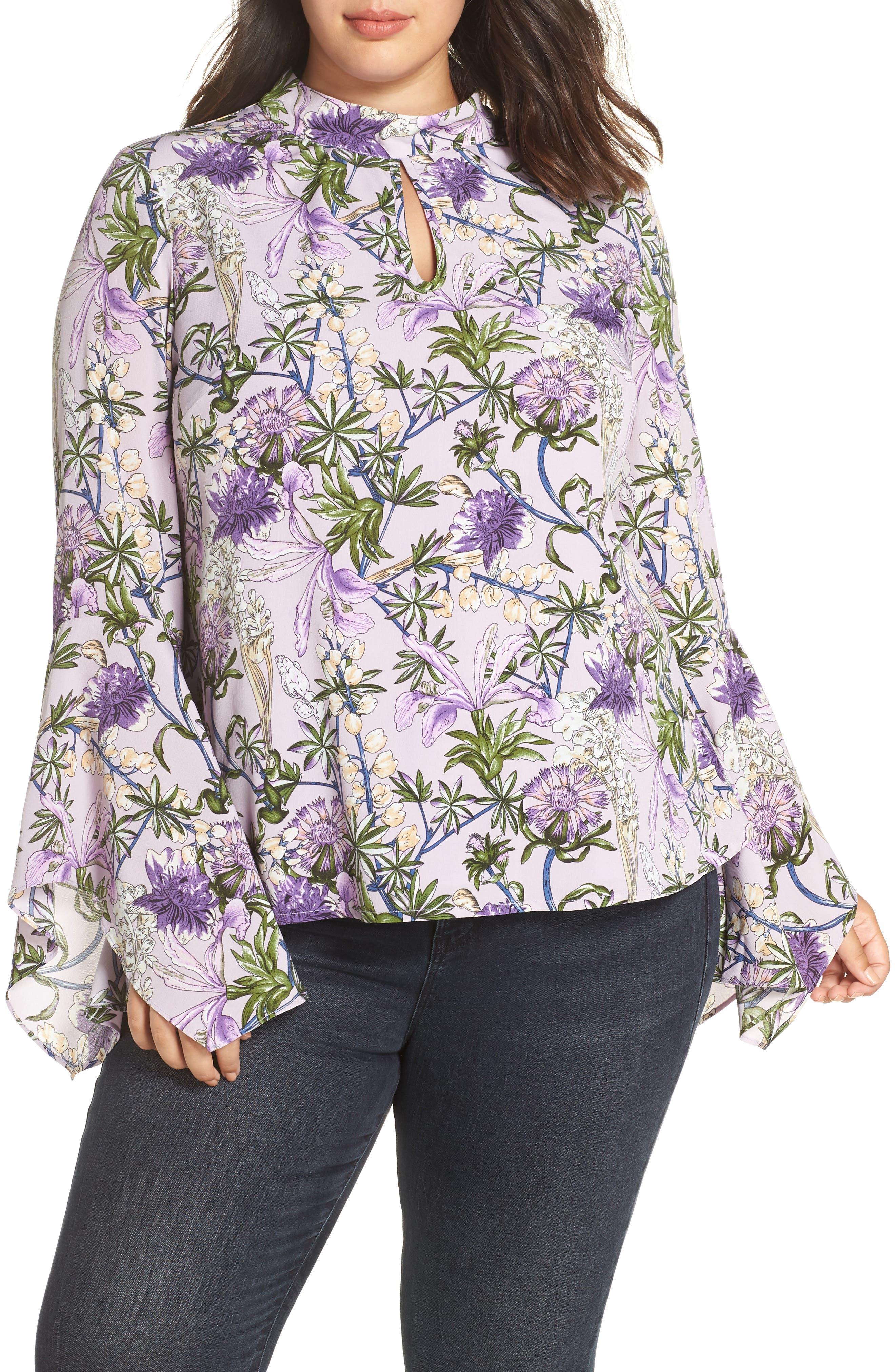 GLAMOROUS Flared Sleeve Keyhole Blouse in Lilac Flower