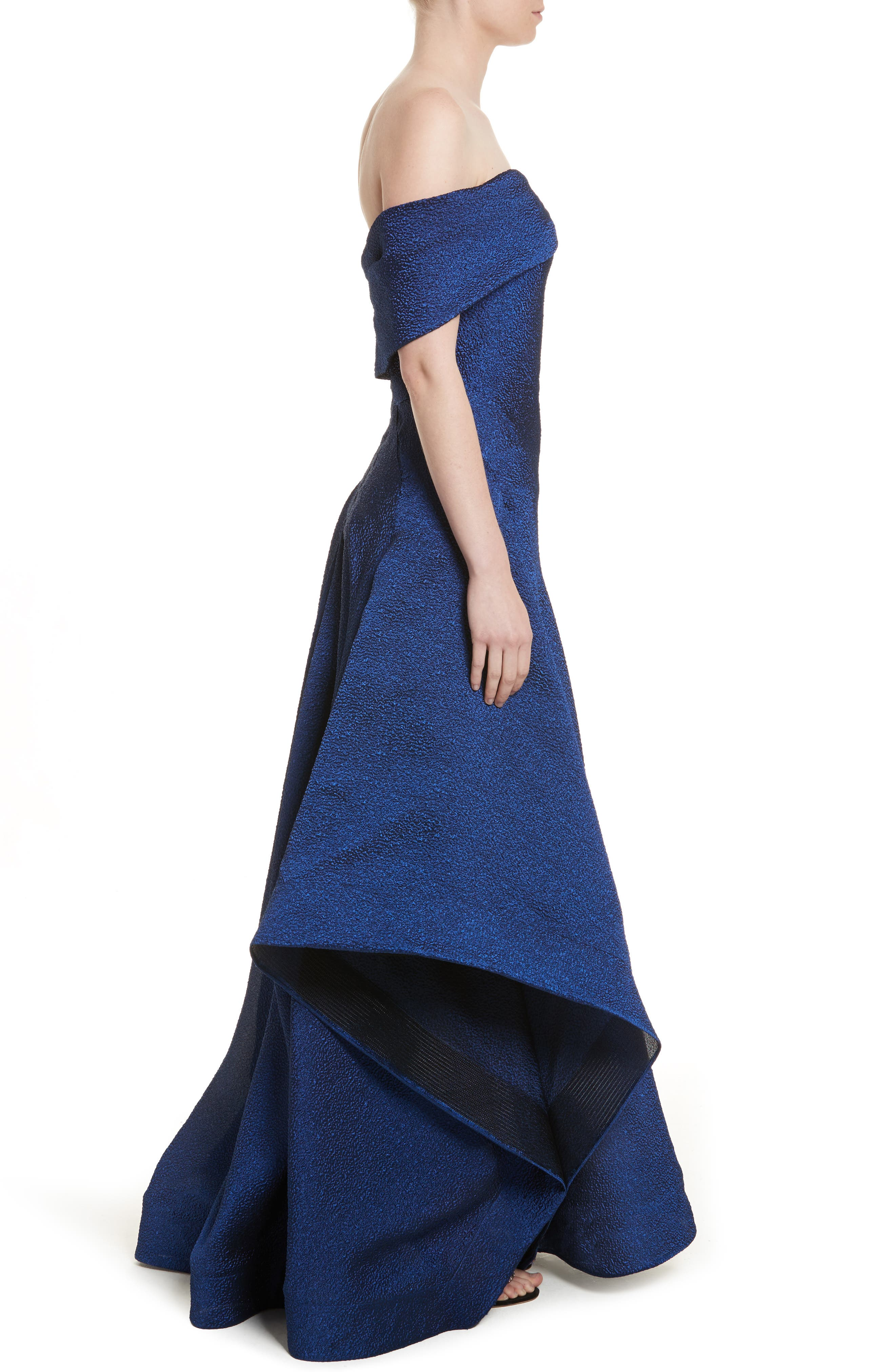 Side Drape Strapless Gown,                             Alternate thumbnail 3, color,