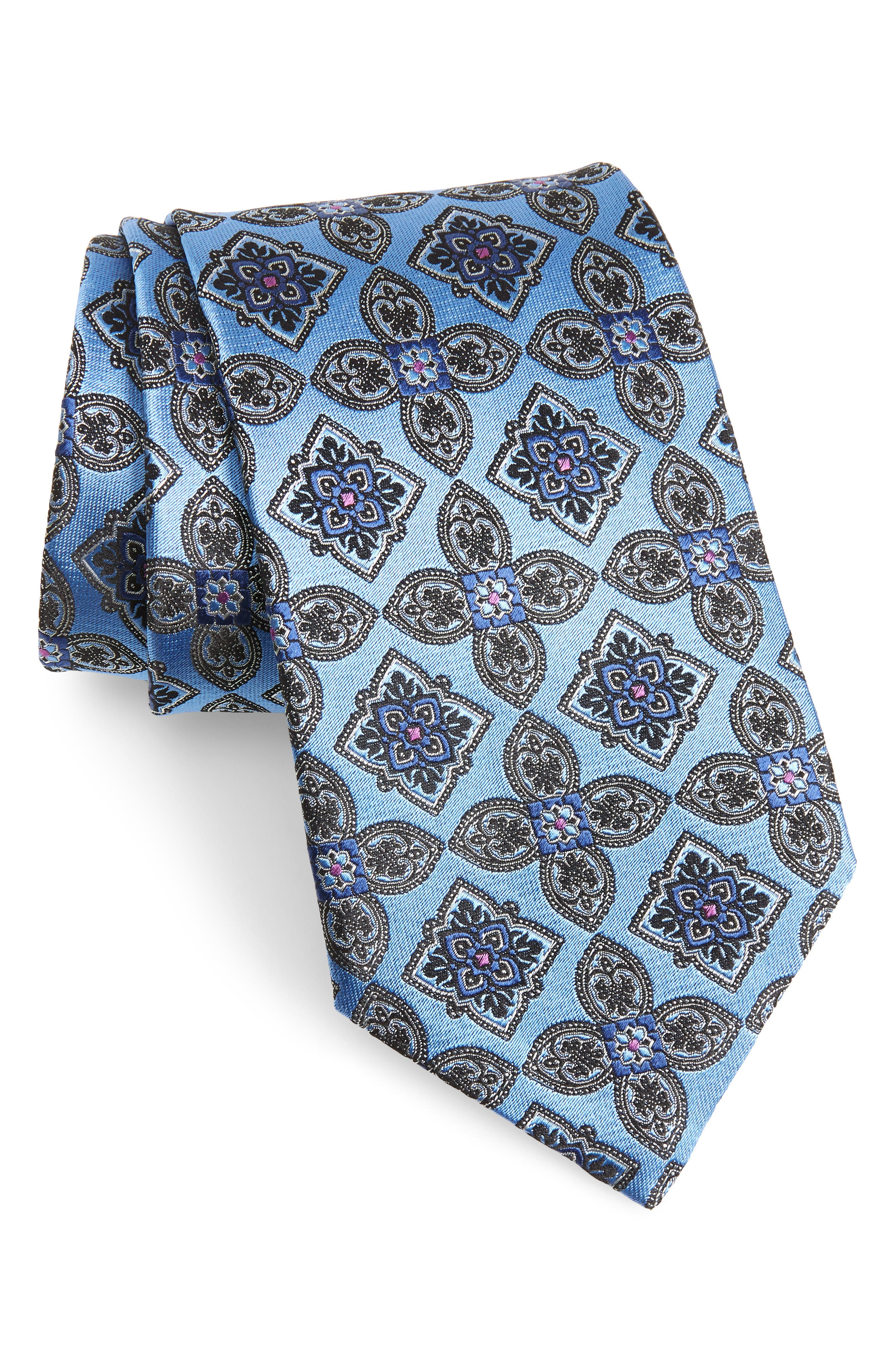 Medallion Silk Tie,                         Main,                         color, 418