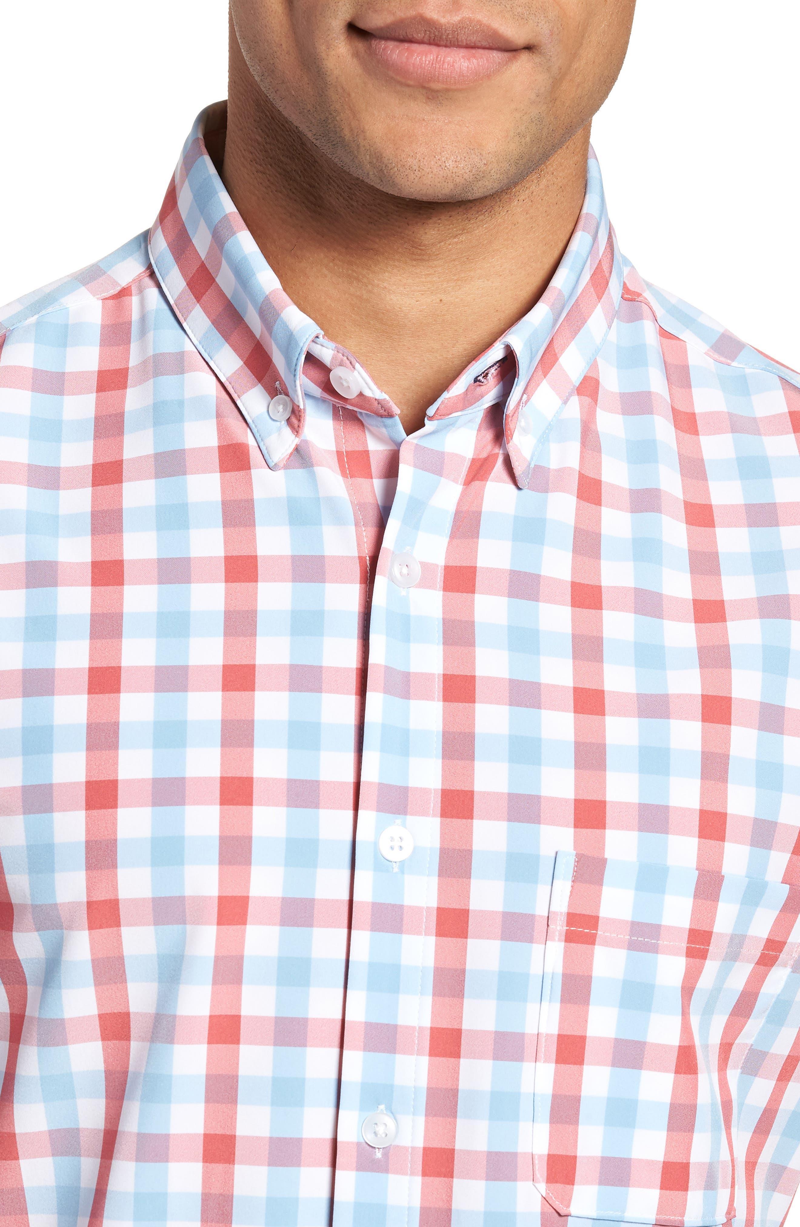 MIZZEN+MAIN,                             Revere Slim Fit Tattersall Performance Sport Shirt,                             Alternate thumbnail 4, color,                             649