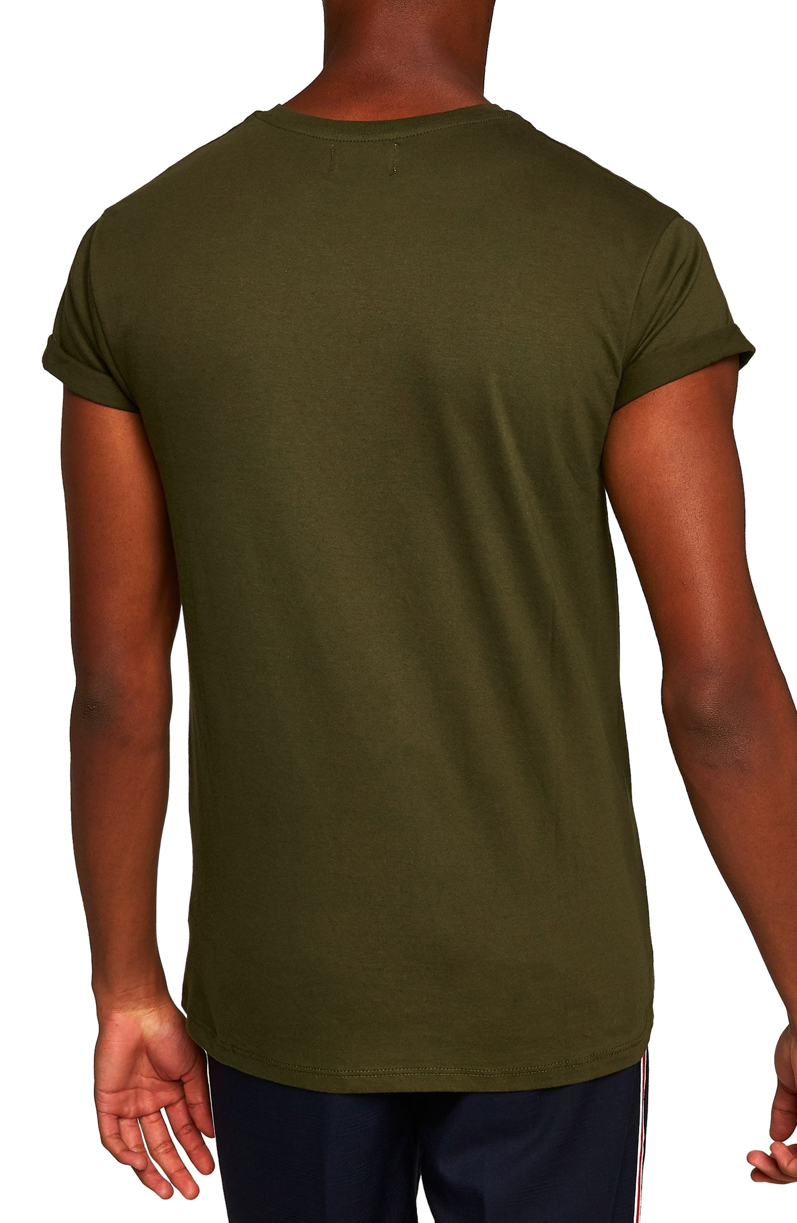 Muscle Fit Roller T-Shirt,                             Alternate thumbnail 2, color,                             OLIVE