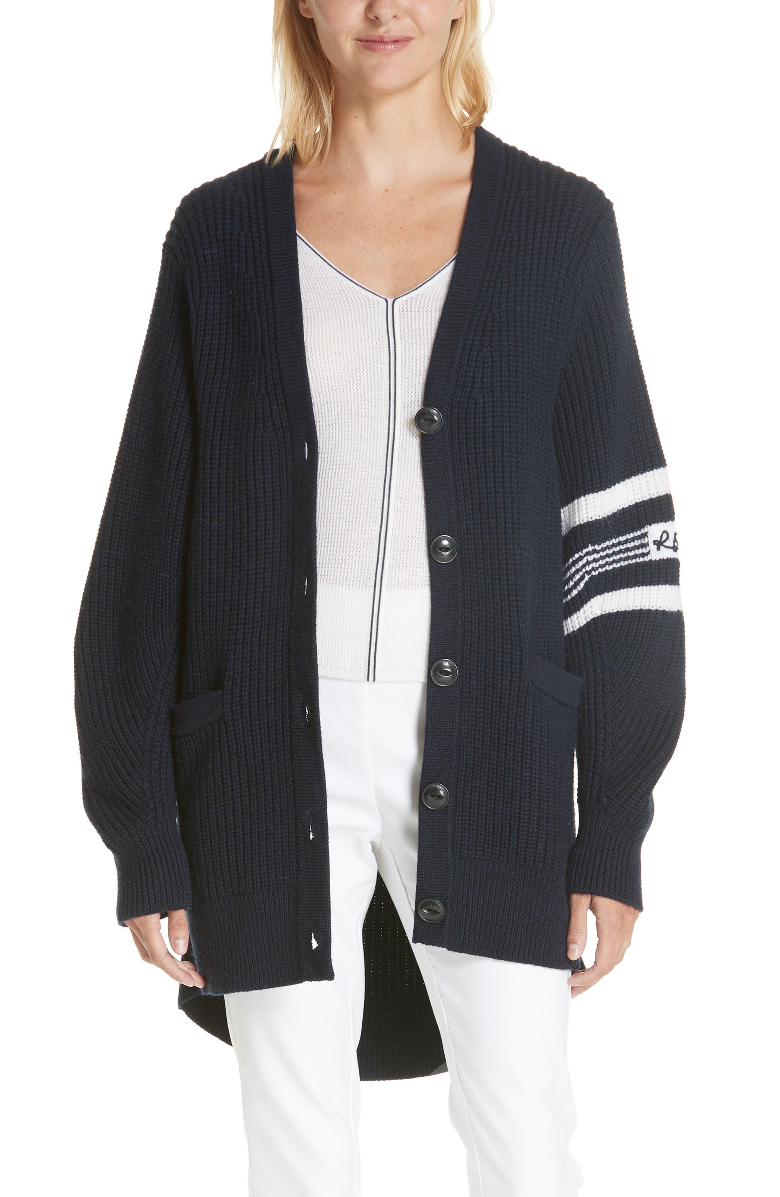 Rag & Bone Addams Varsity Stripe Merino Wool Cardigan, Blue