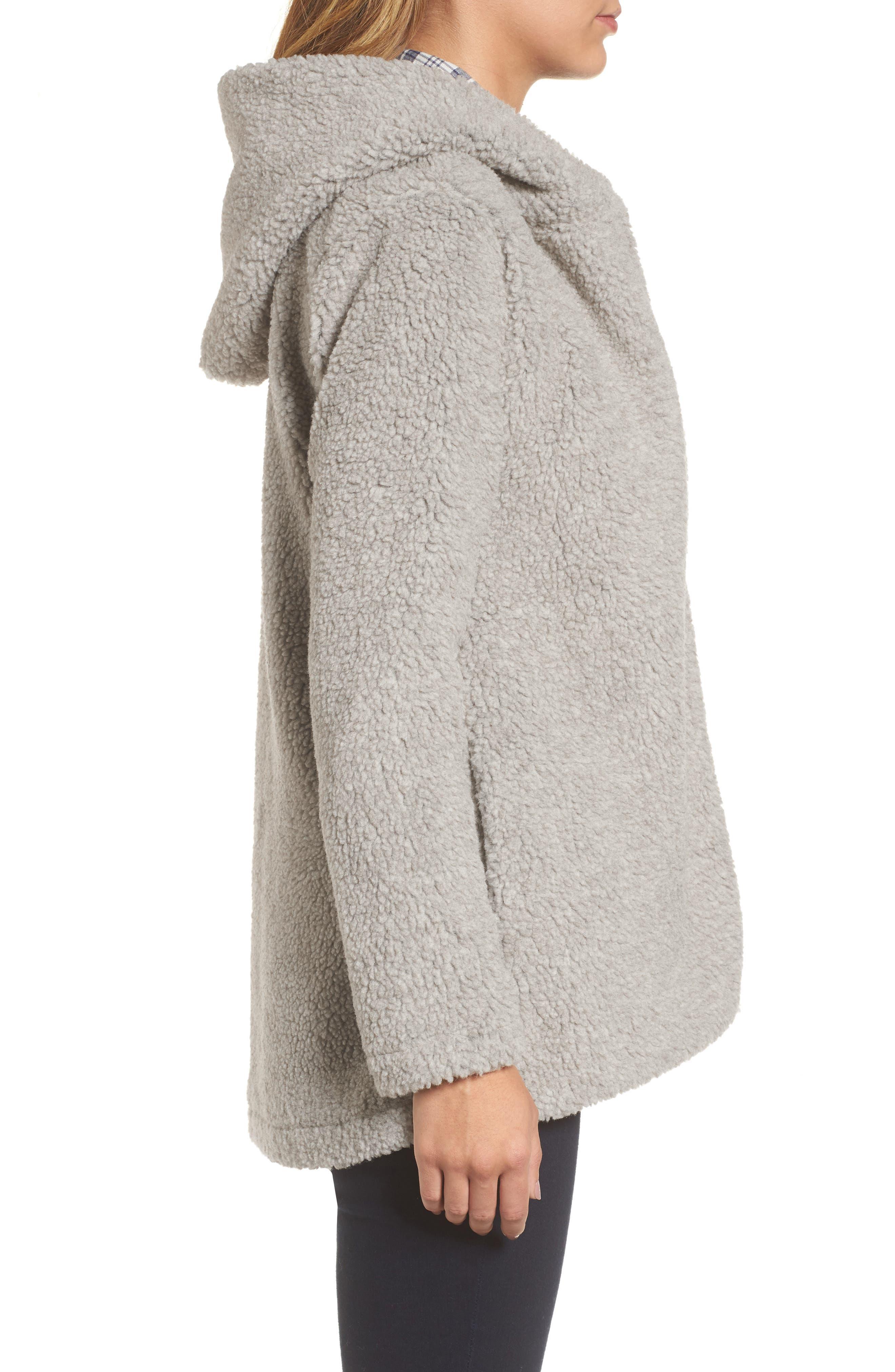 Hooded Faux Fur Jacket,                             Alternate thumbnail 3, color,