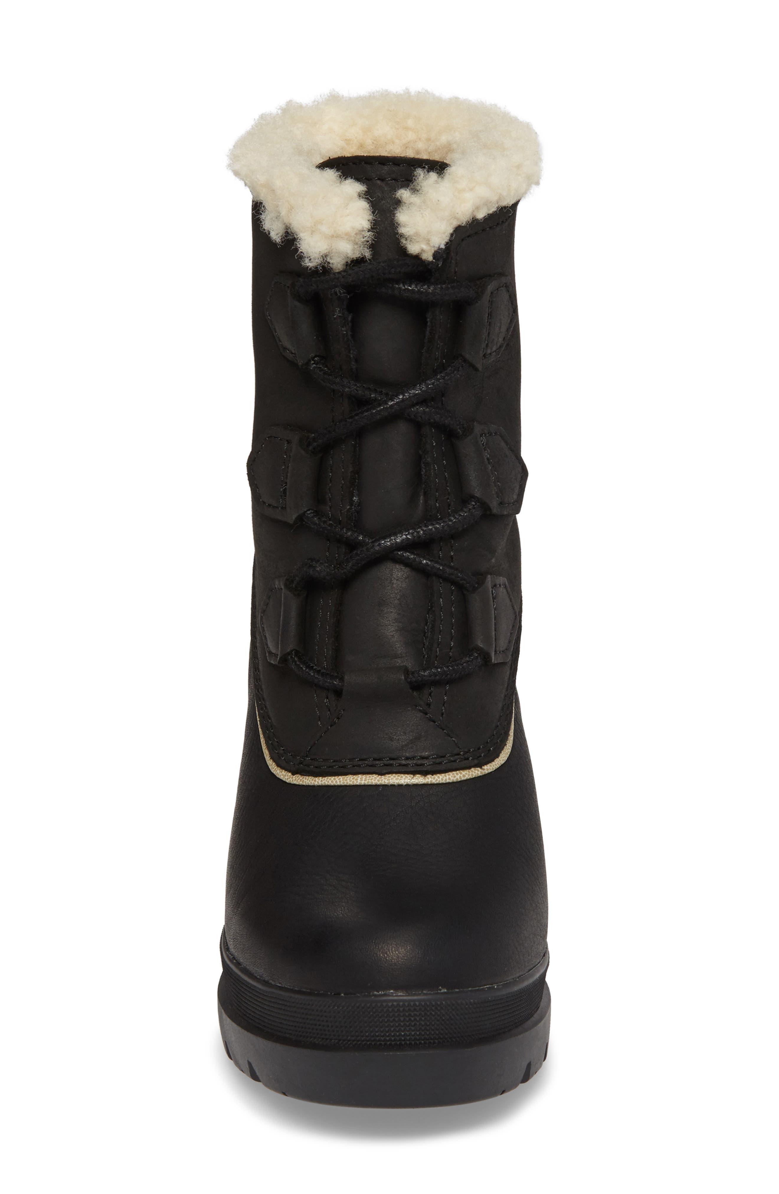 SOREL,                             Dacie Genuine Shearling Cuff Waterproof Boot,                             Alternate thumbnail 4, color,                             010