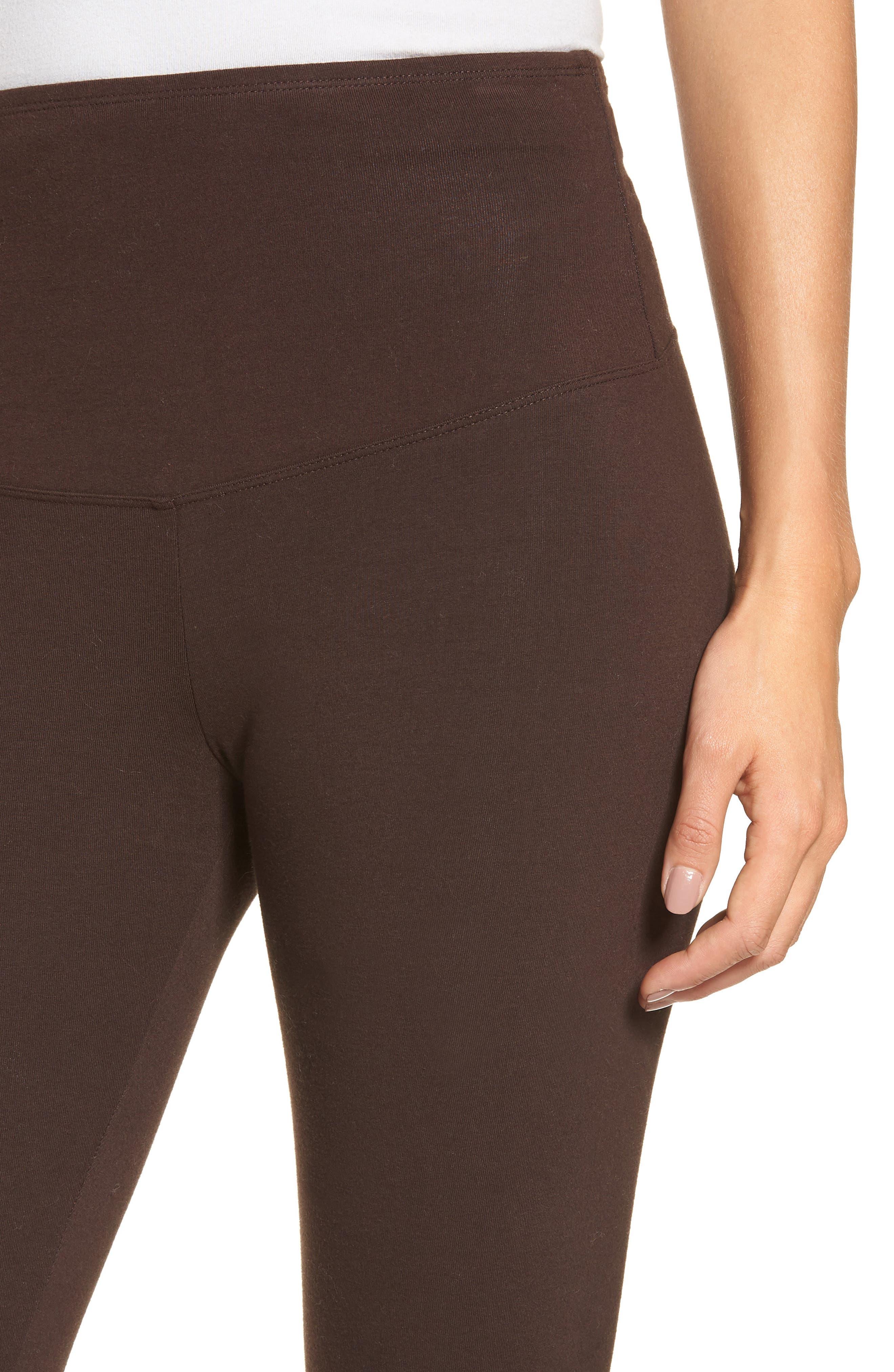 'Rachel' High Waist Leggings,                             Alternate thumbnail 4, color,                             CHOCOLATE TORTE
