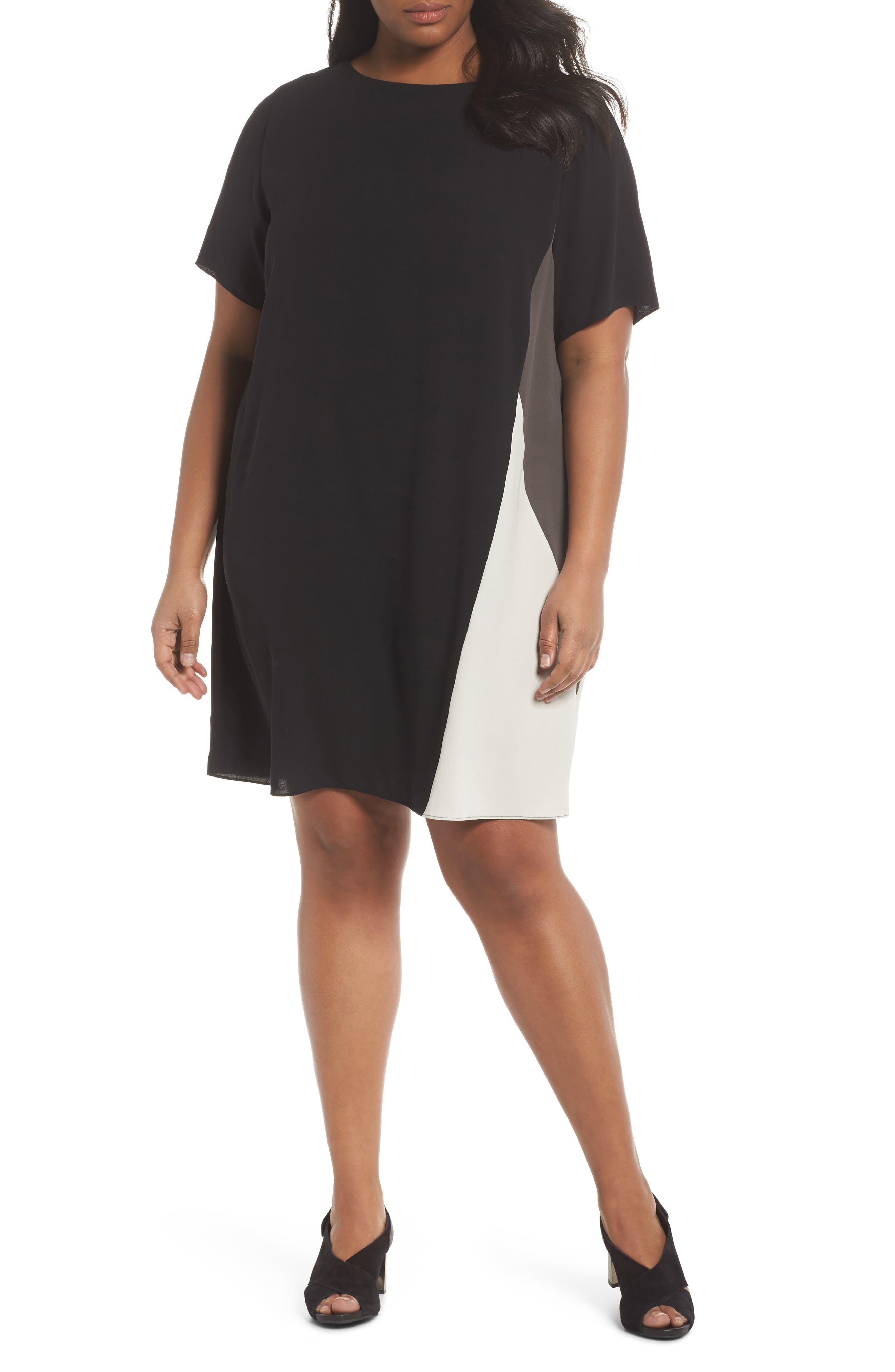 Colorblock Silk Shift Dress,                         Main,                         color, 001