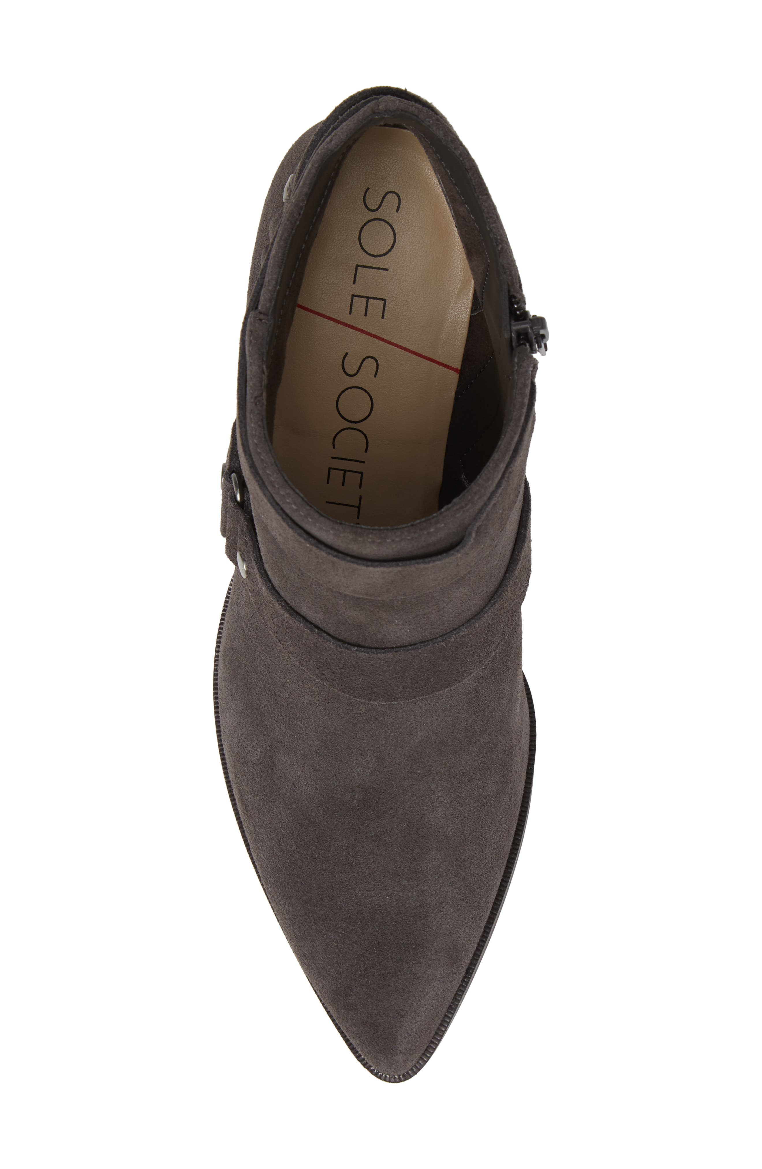 SOLE SOCIETY,                             Dariela Strappy Bootie,                             Alternate thumbnail 5, color,                             IRON SUEDE