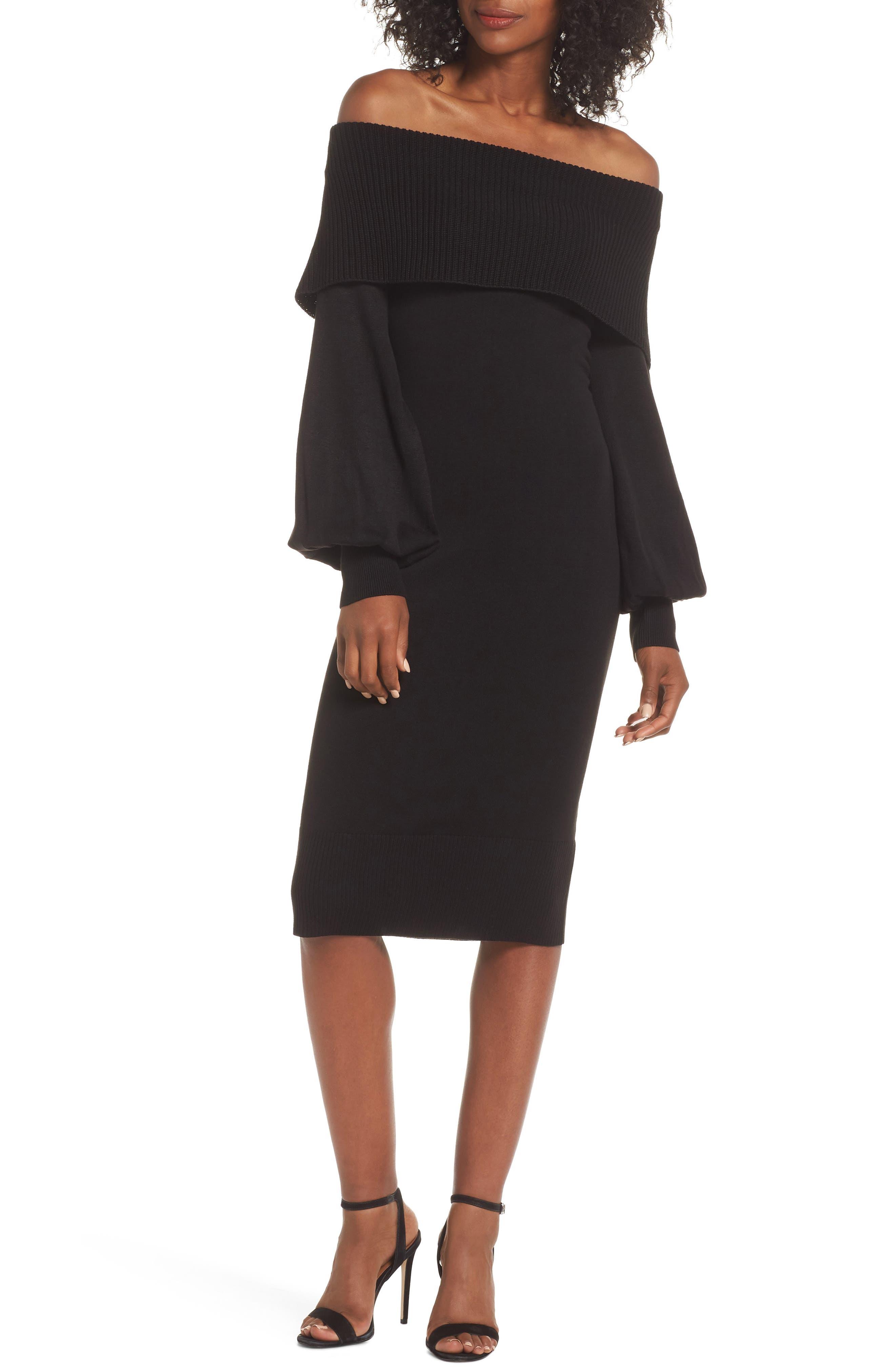 Eliza J Off The Shoulder Bishop Sleeve Sweater Dress, Black
