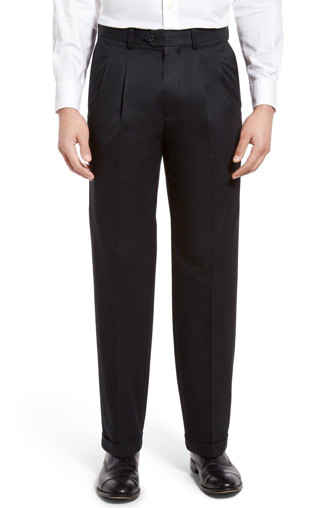 Classic Smartcare<sup>™</sup> Supima<sup>®</sup> Cotton Pleated Trousers,                         Main,                         color, BLACK CAVIAR