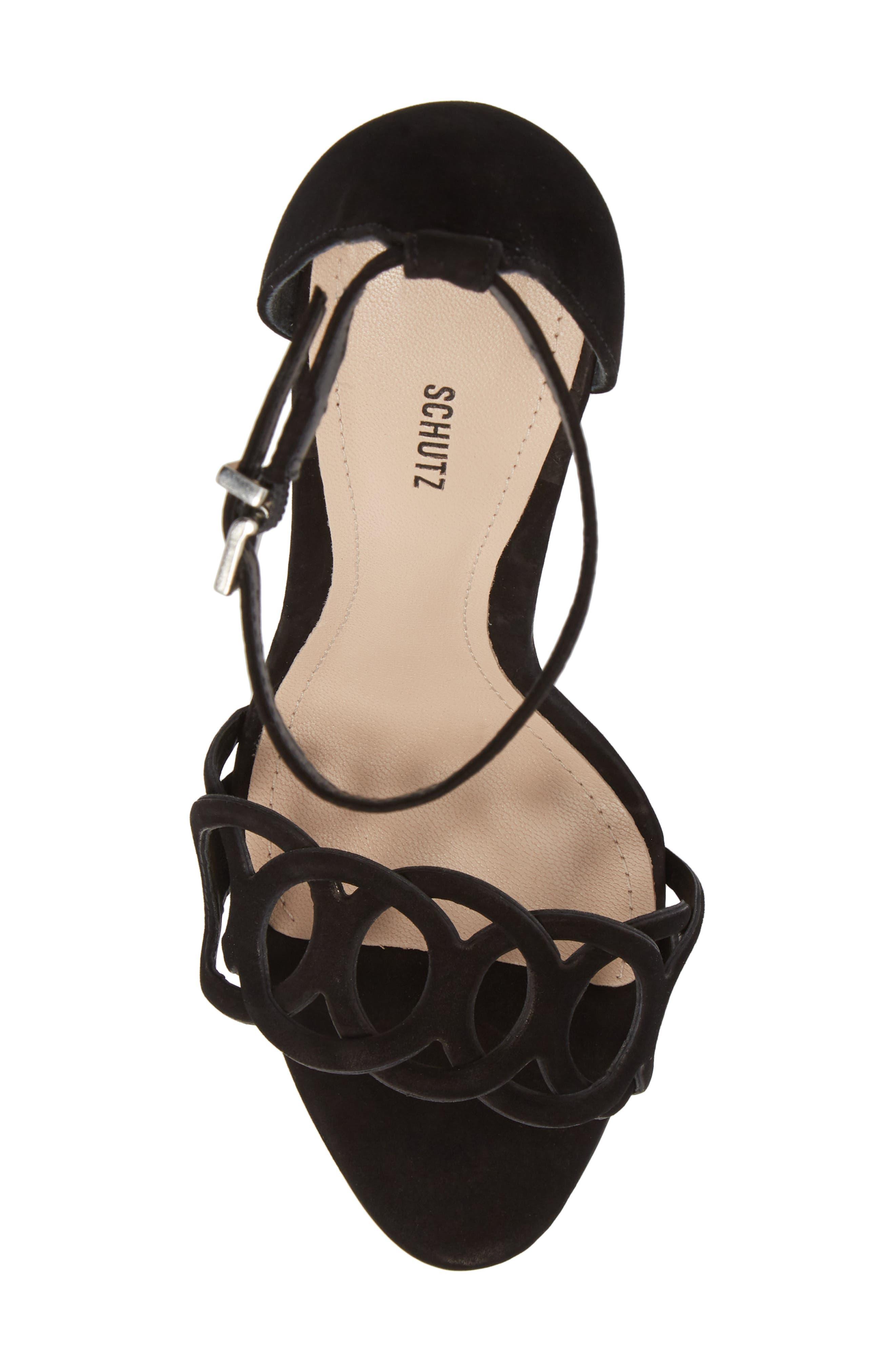 Sthefany Ankle Strap Sandal,                             Alternate thumbnail 5, color,                             BLACK LEATHER