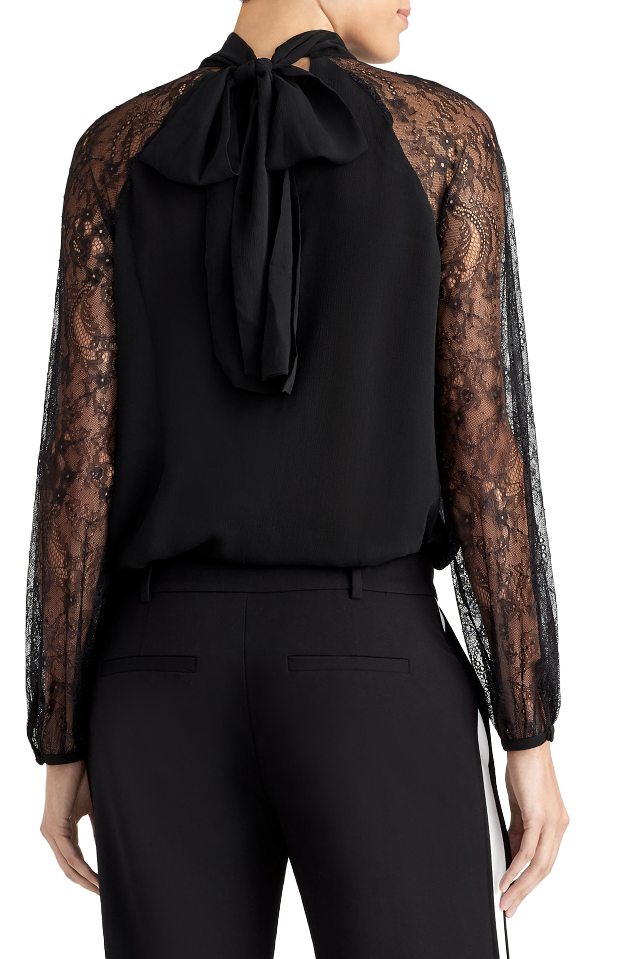 Lace Sleeve Bow Top,                             Alternate thumbnail 2, color,                             001
