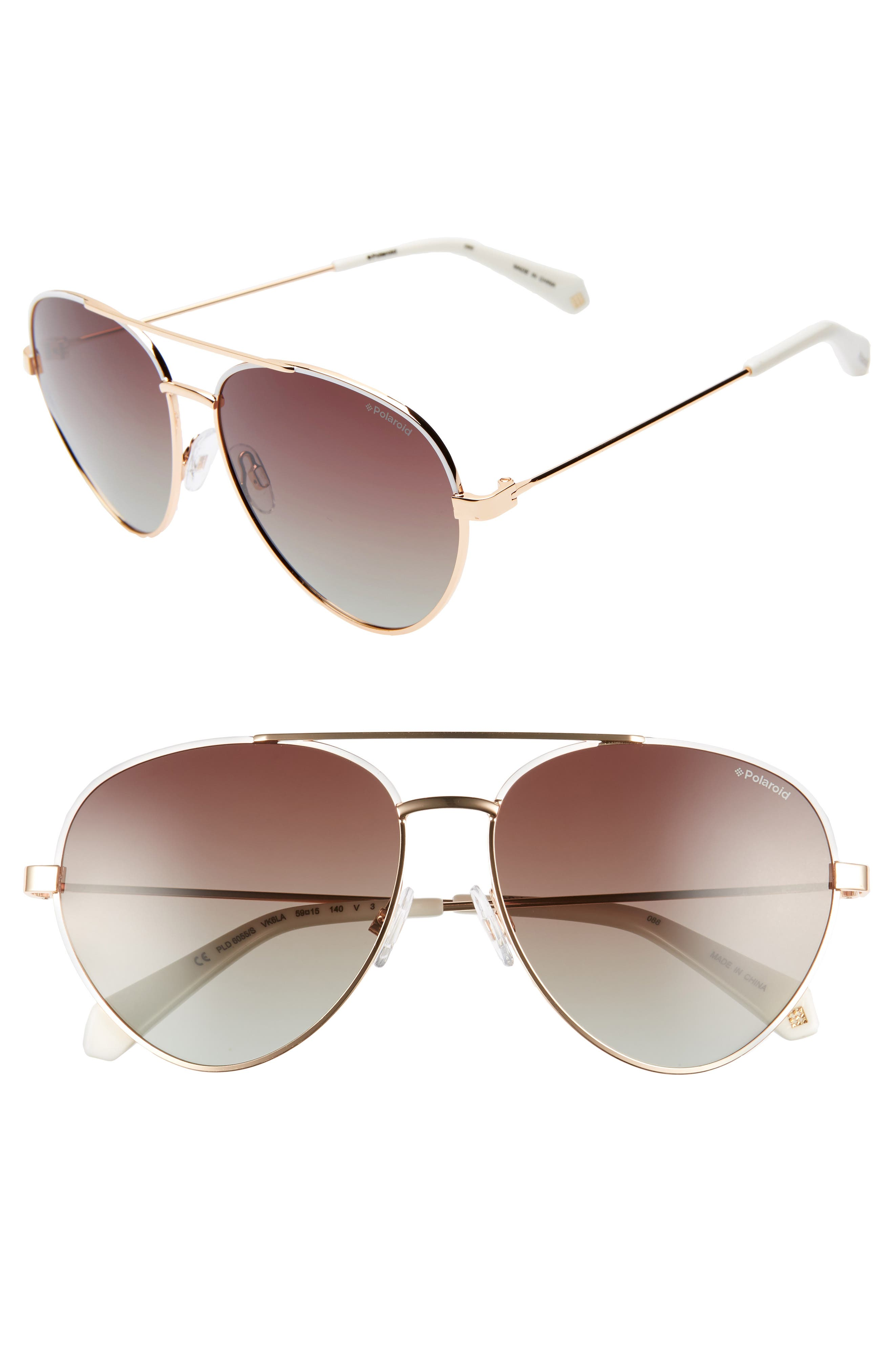 POLAROID 59Mm Polarized Aviator Sunglasses - White