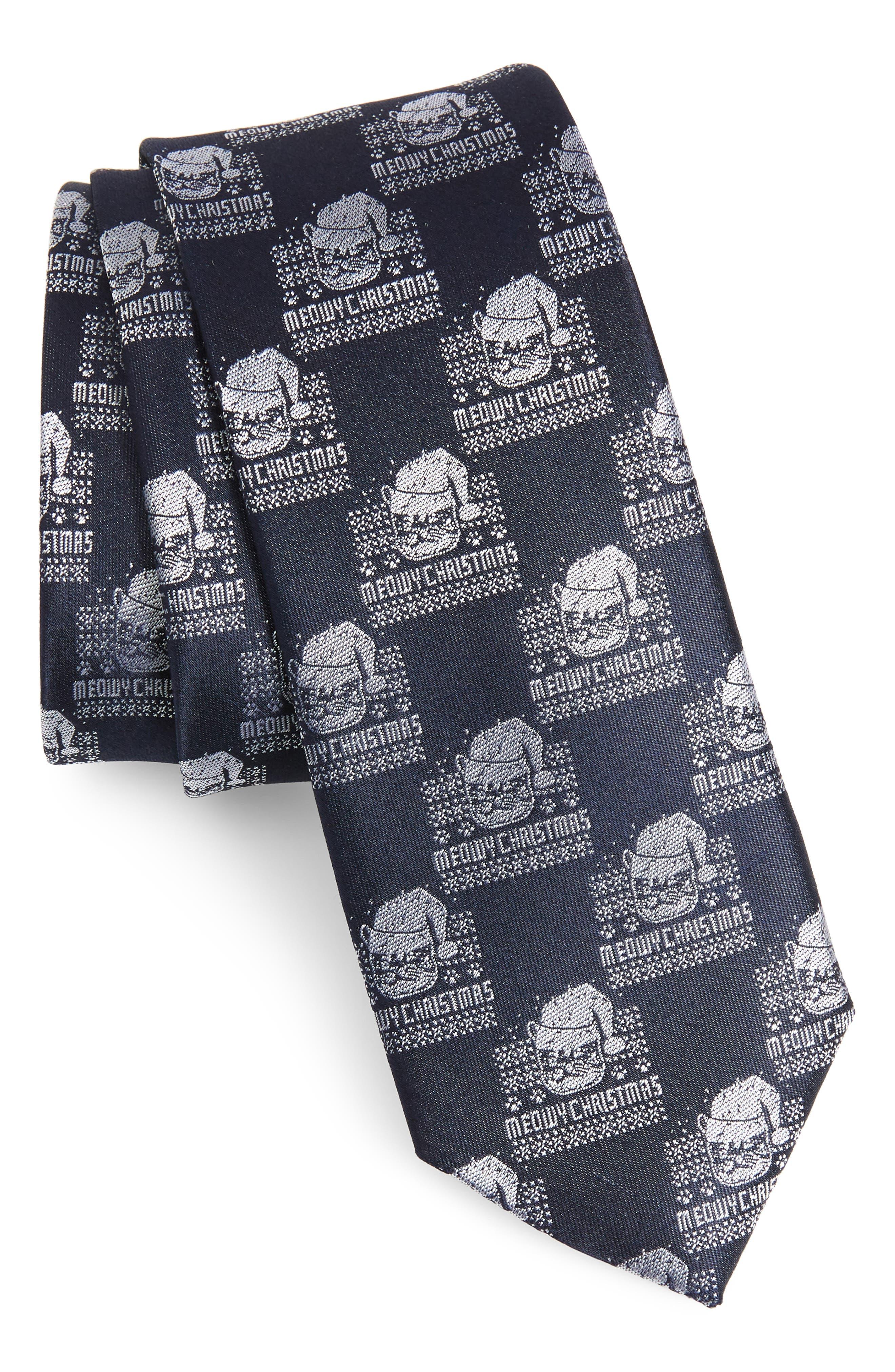 Meowy Christmas Print Silk Tie,                         Main,                         color, NAVY