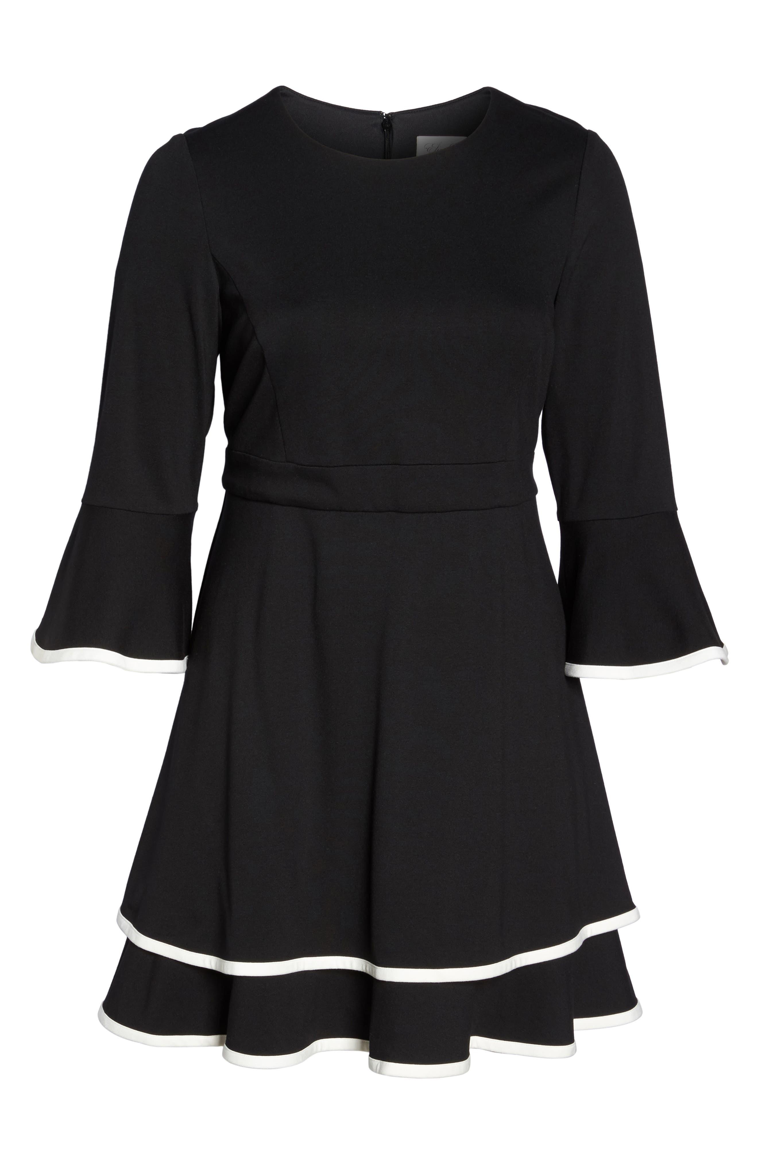 Bell Sleeve Contrast Trim Fit & Flare Dress,                             Alternate thumbnail 6, color,                             BLACK/ IVORY