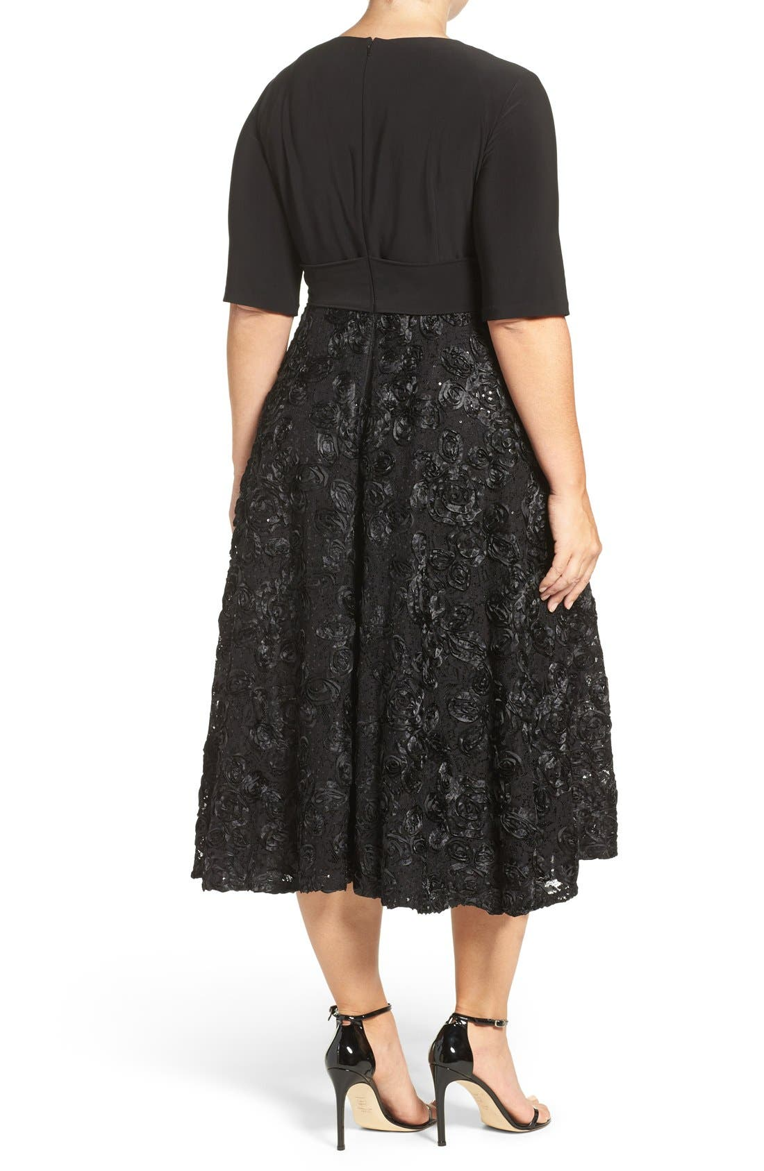 Tea Length Jersey & Rosette Lace Dress,                             Alternate thumbnail 3, color,                             001